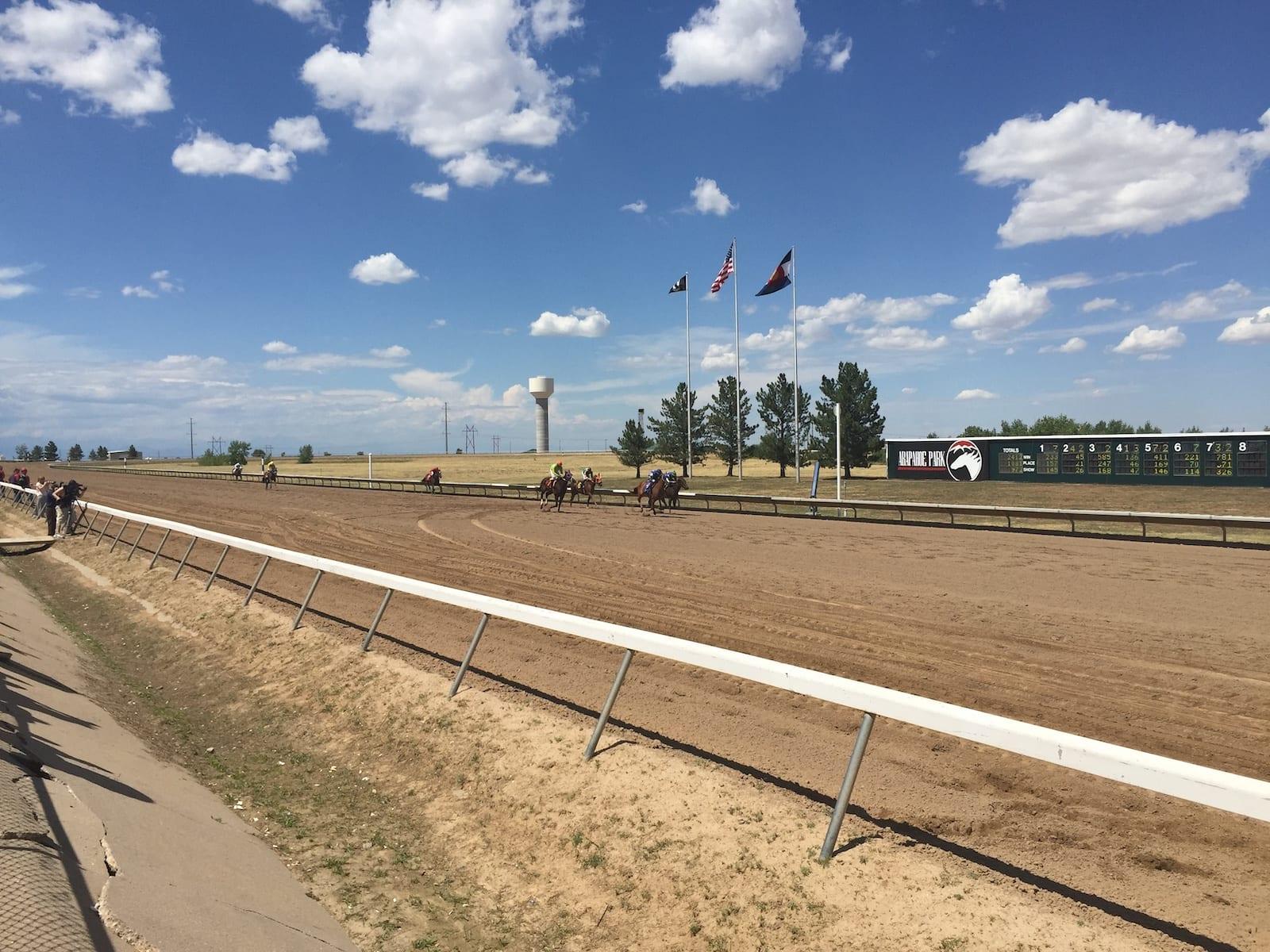 Horse Racing Arapahoe Park Racetrack Final Straightaway