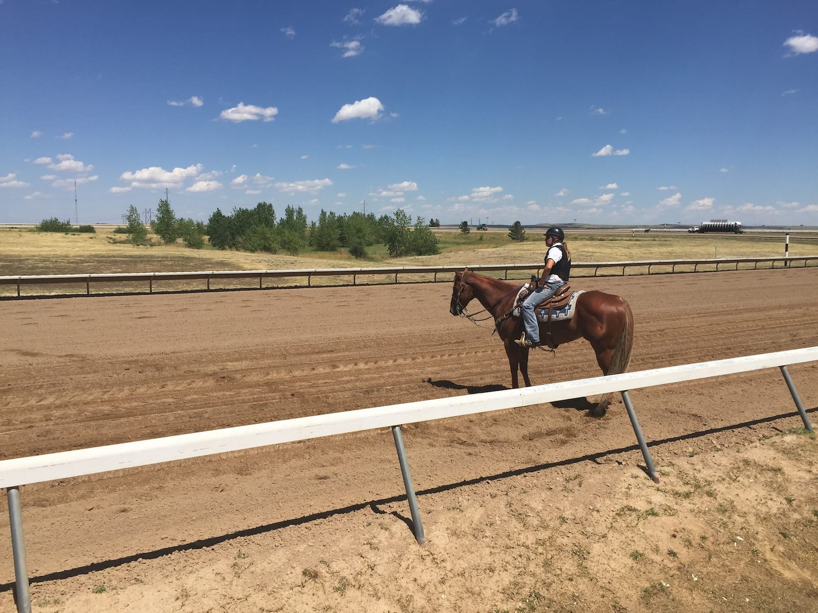 Arapahoe Park Racetrack Aurora CO Woman On Horse