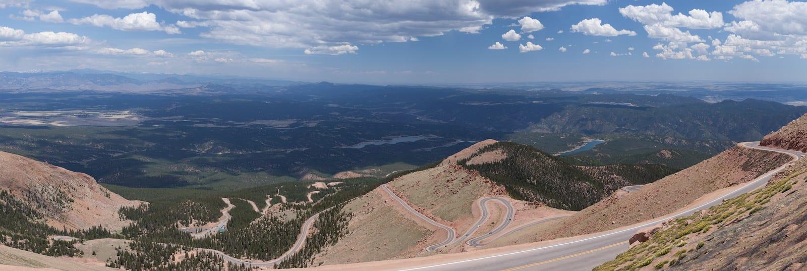 Panorama of Pikes Peak Highway Overlooking Colorado Springs
