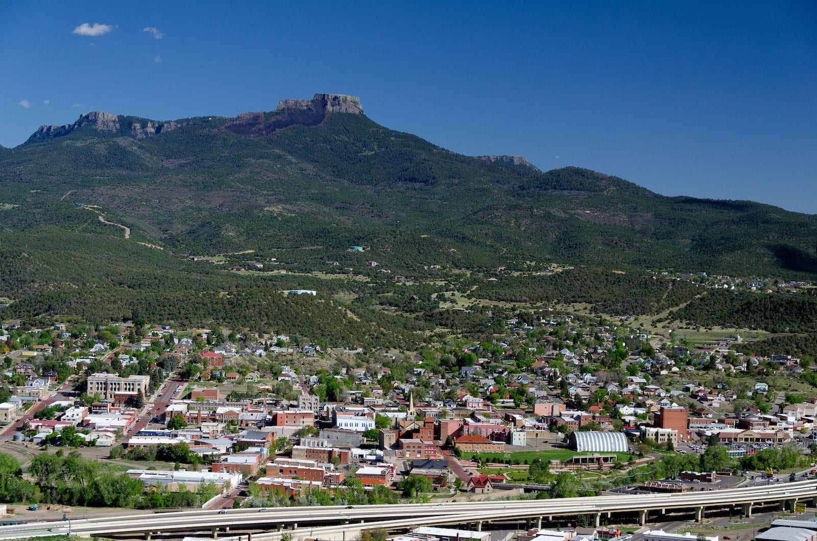 Trinidad Colorado Overlooking Downtown Highway and Buttes