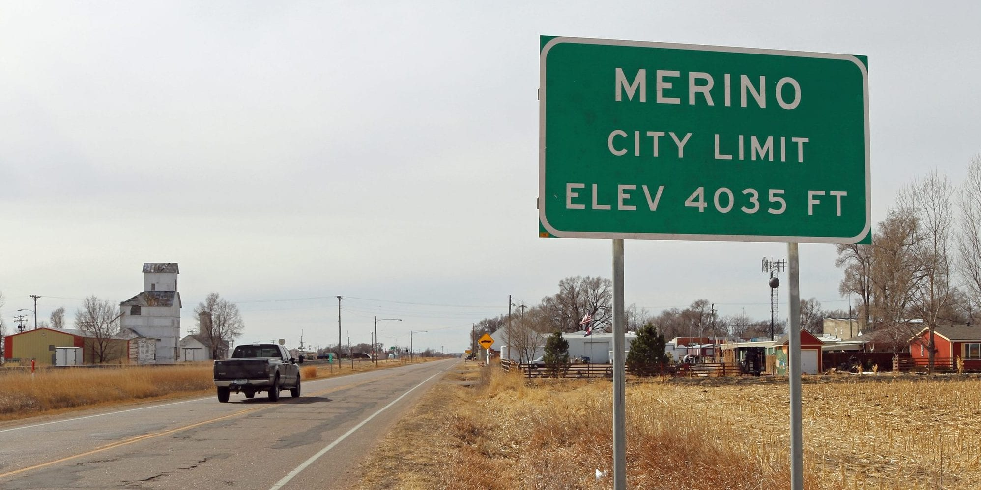 image of town of merino sign
