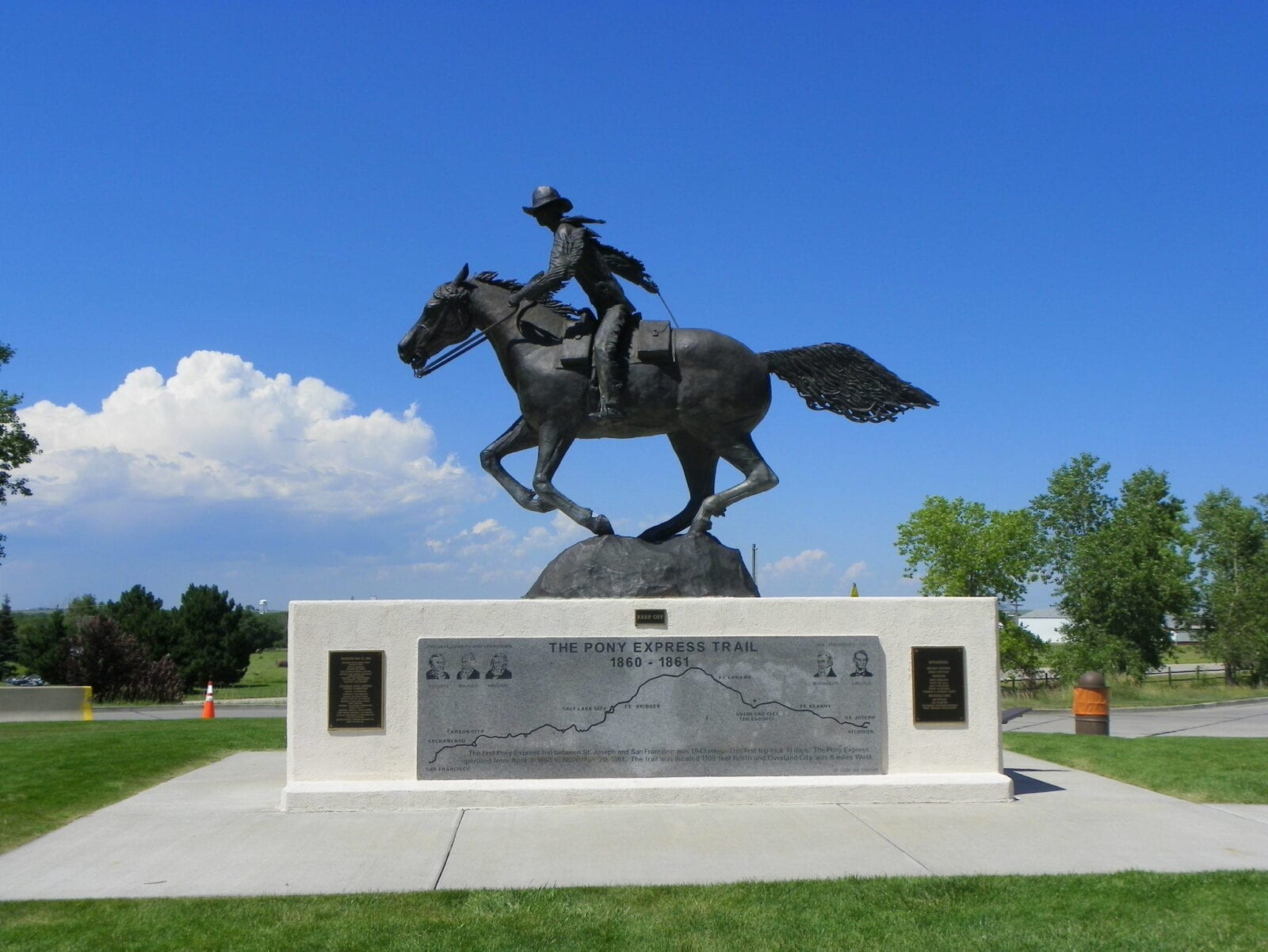image of statue at Pony Express Trail