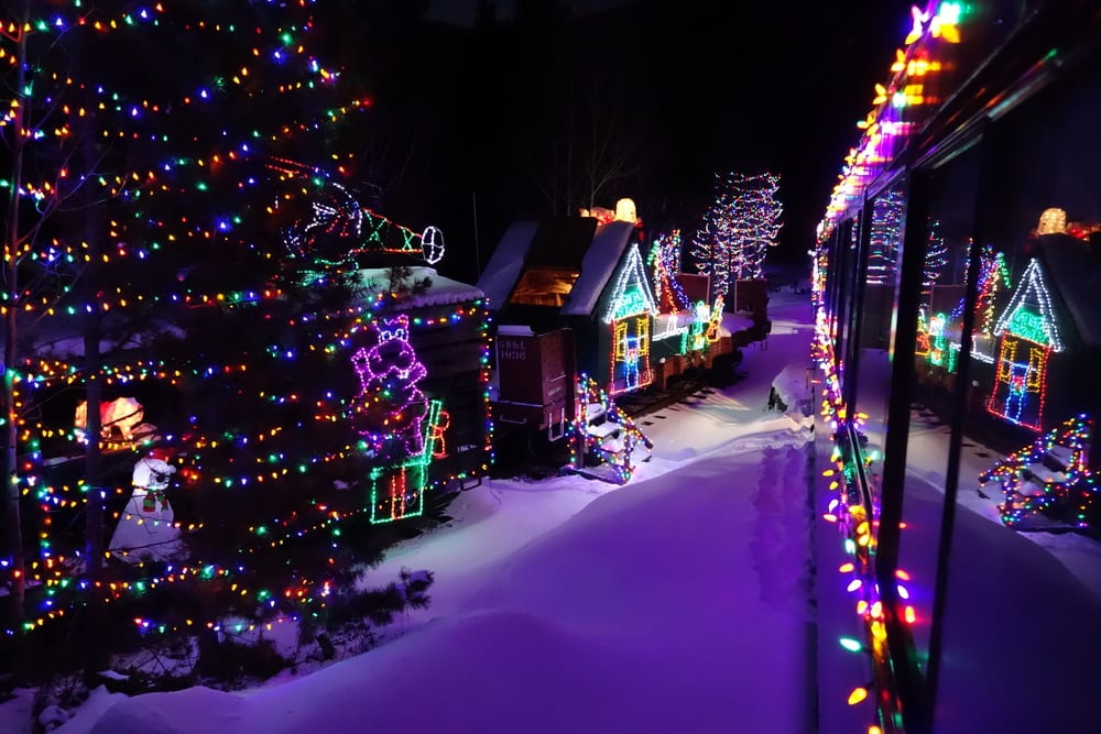 image of santa lighted forest