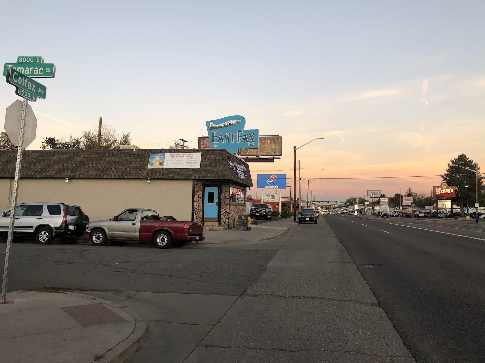 East Colfax Avenue and Tamarac Street Sign East Fax Bar