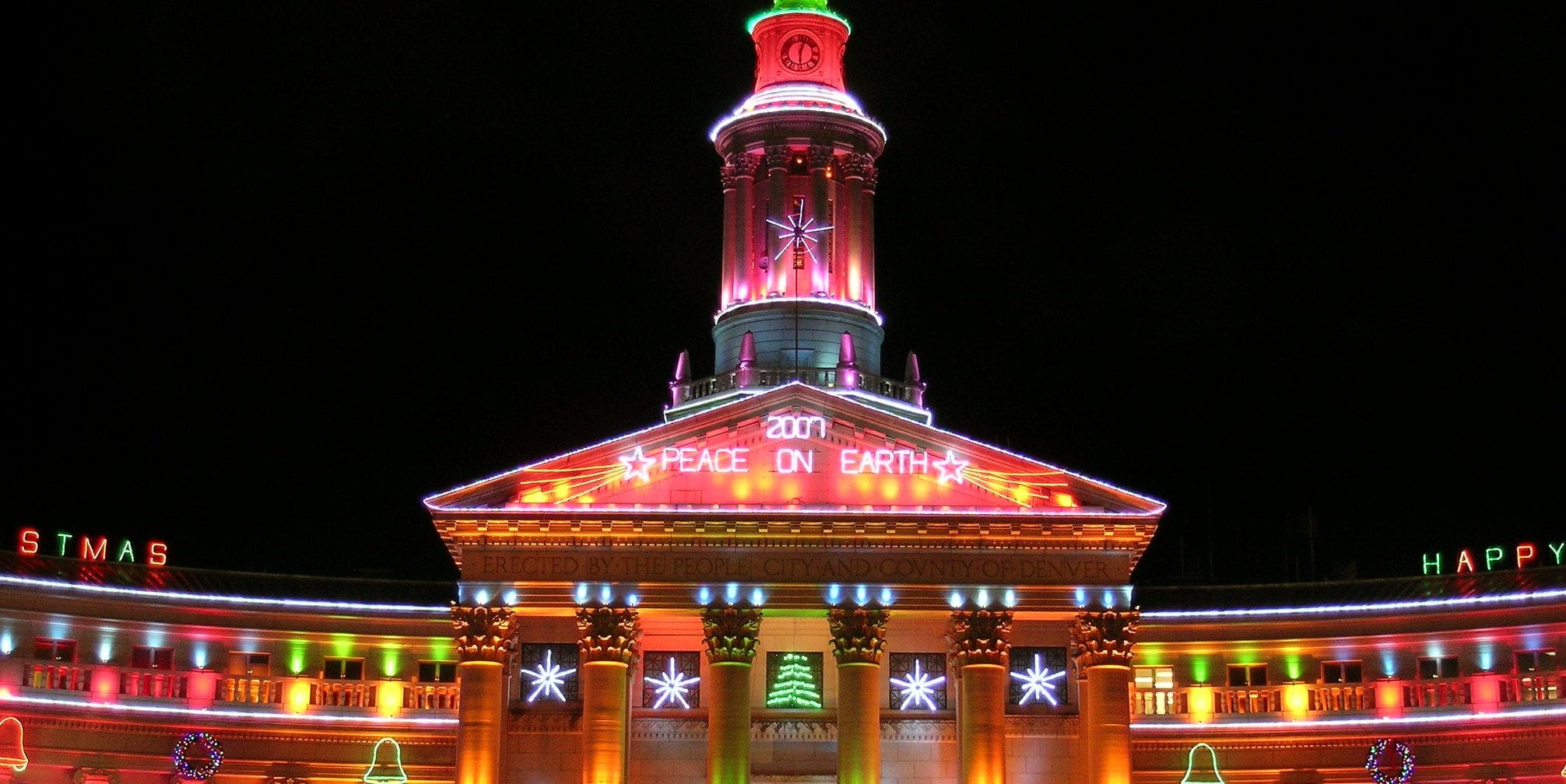image of denver civic center at christmas