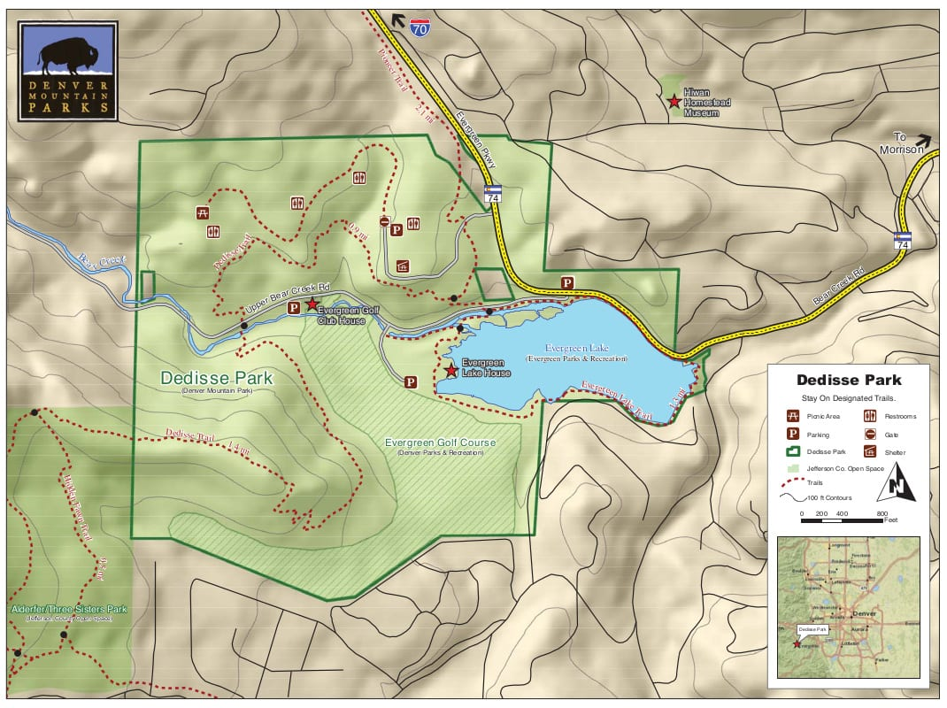 Dedisse Park Map Hiking Trails Evergreen CO