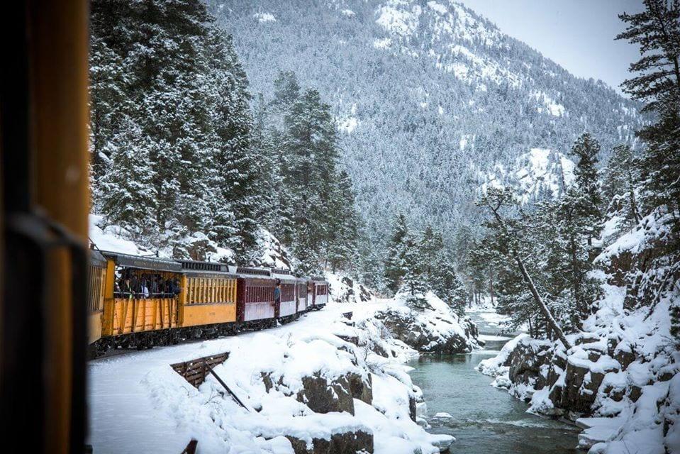 image of train through the snow in Colorado