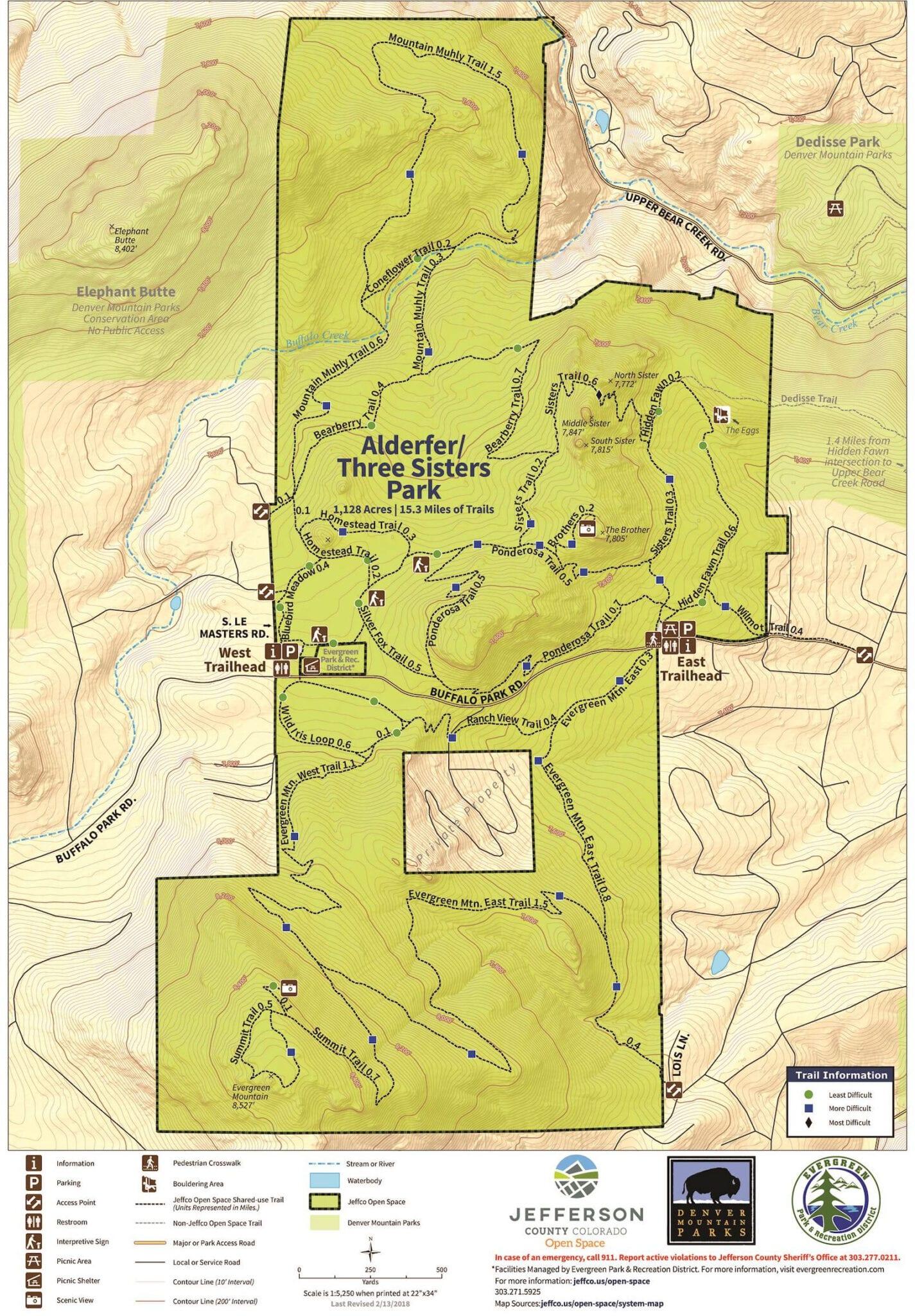 Alderfer Three Sisters Park Hiking Trails Map Evergreen CO