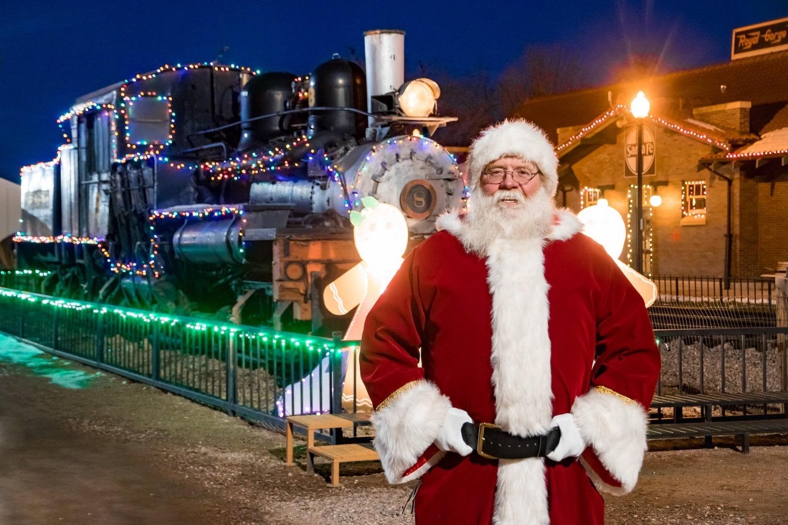 Image of Santa at the Royal Gorge Route Railroad Santa Express in Colorado