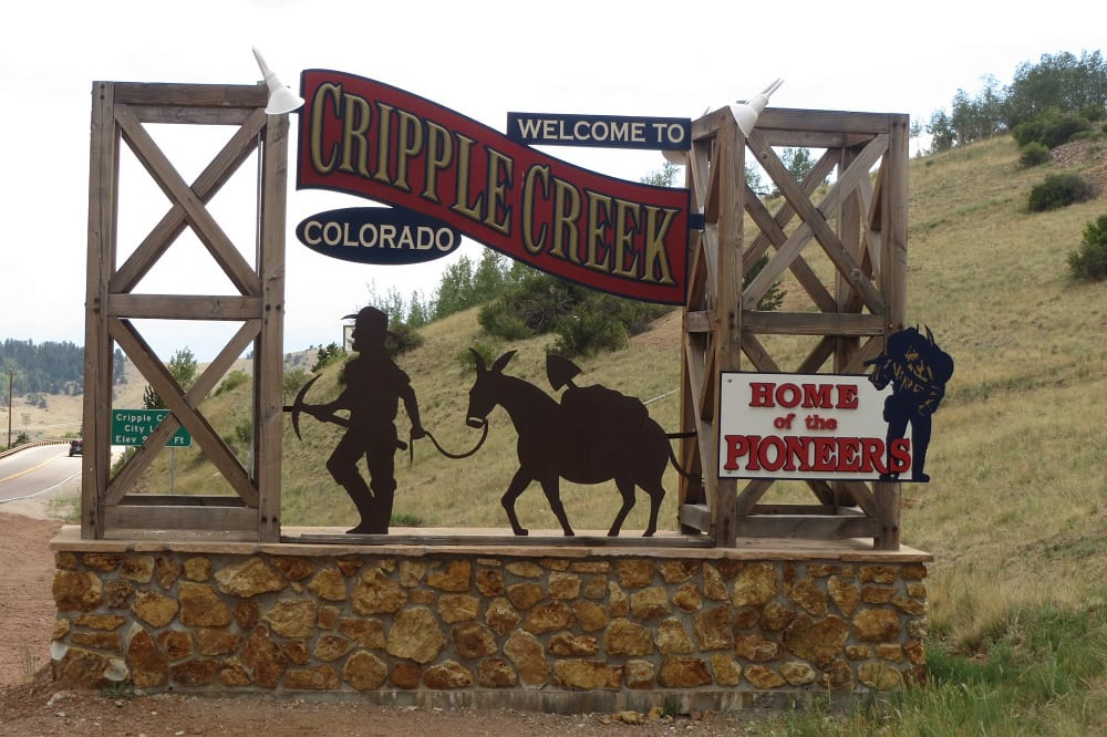 Cripple Creek CO Welcome Sign