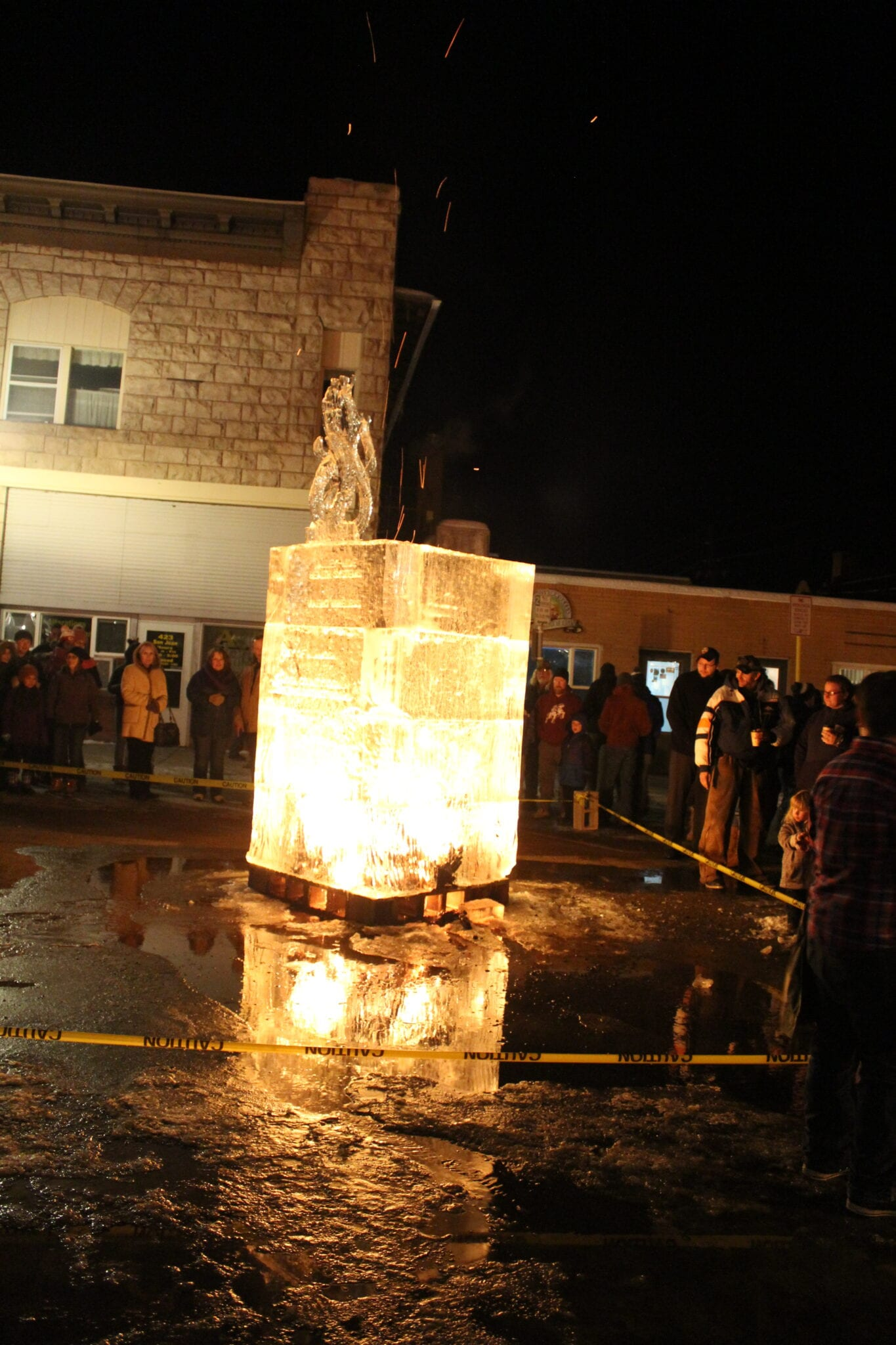 image of bonfire with ice sculpture