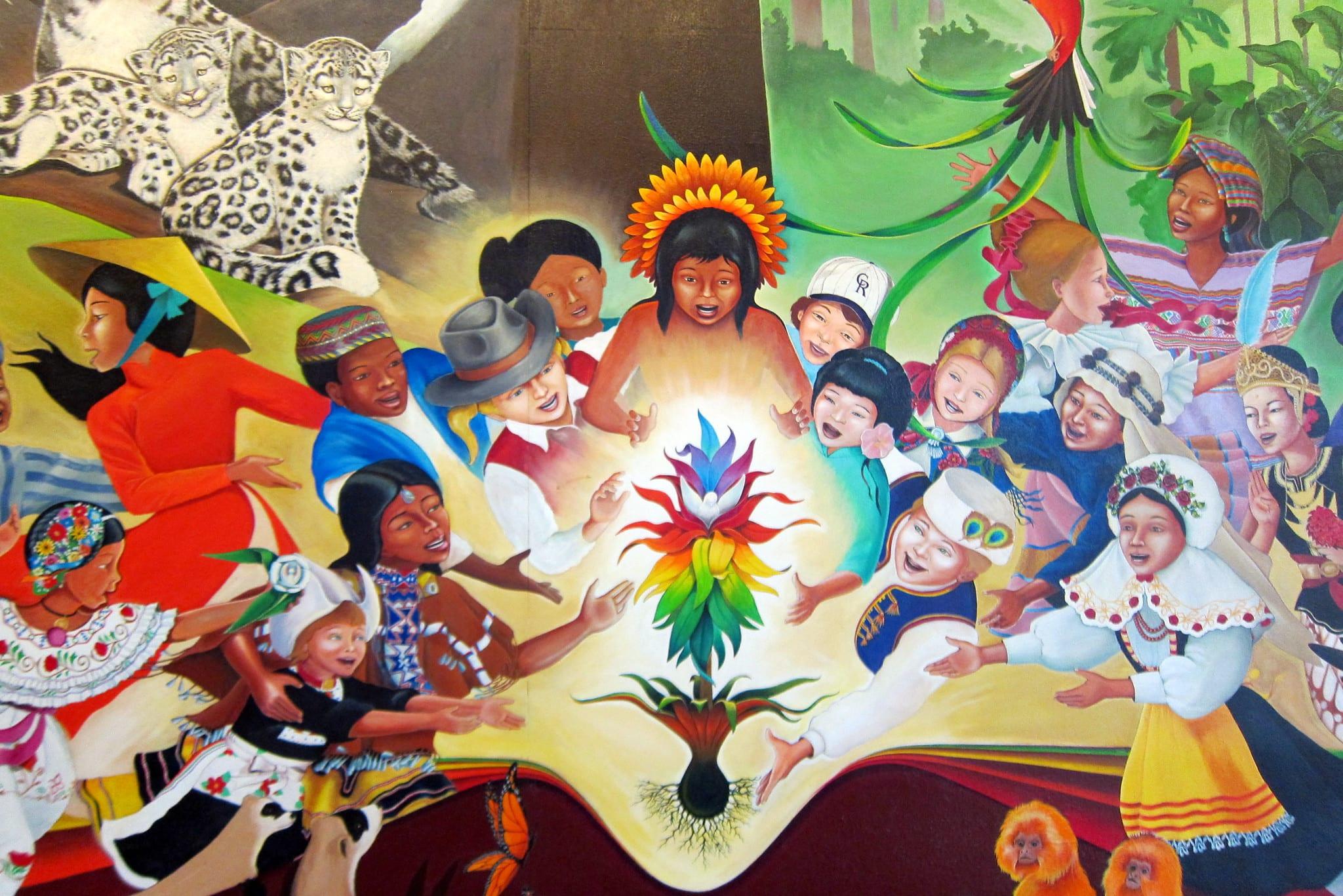 gambar mural di denver international airport