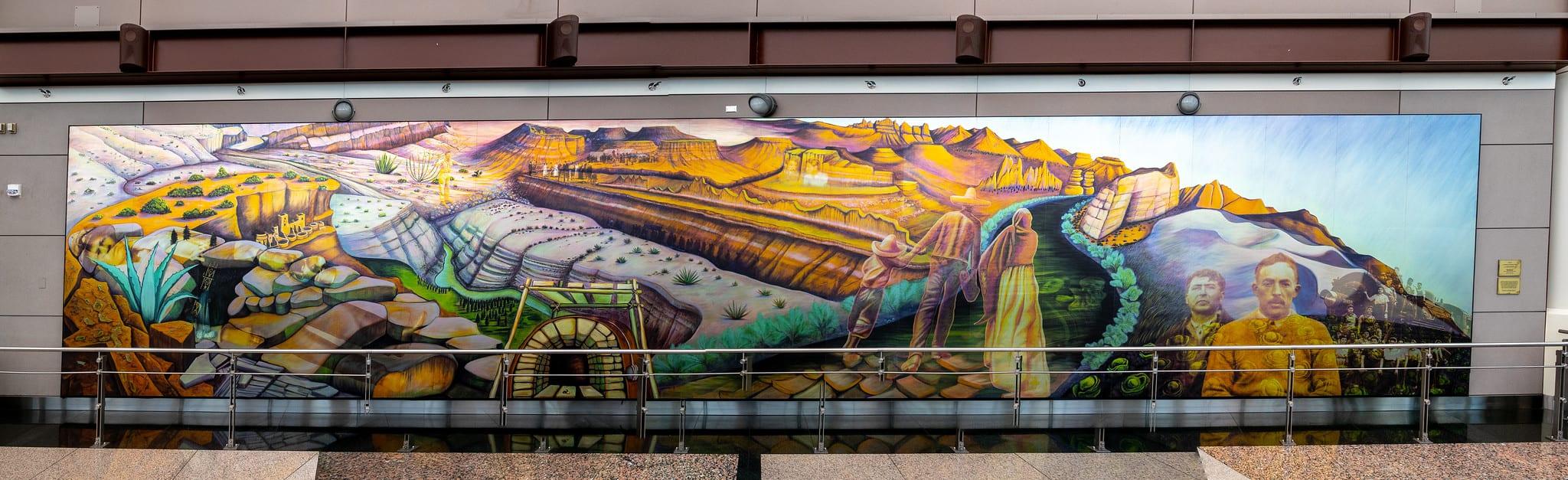 gambar mural seni di bandara internasional denver