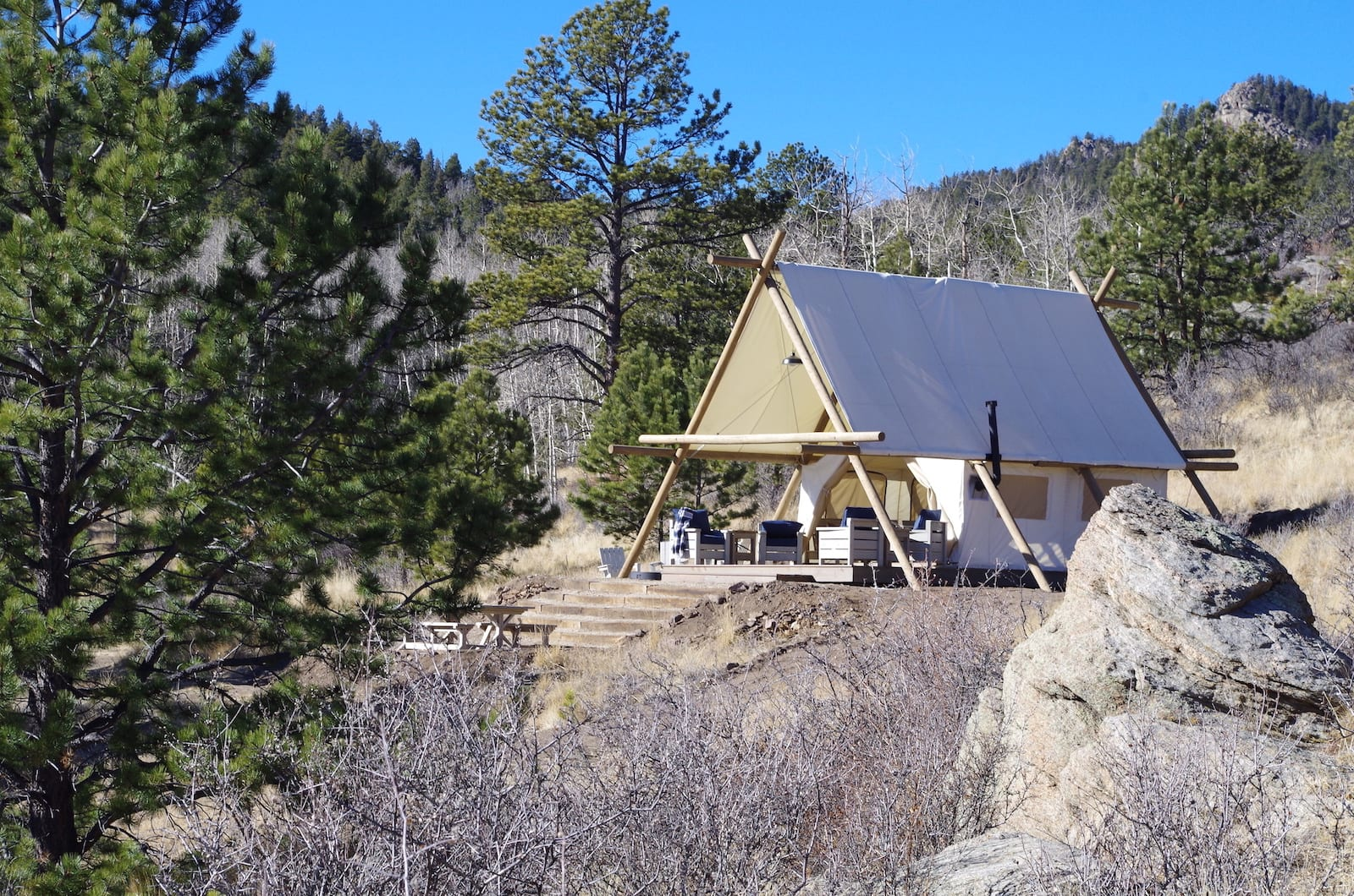 Black Tree Resort Glamping Wall Tent Lake George CO