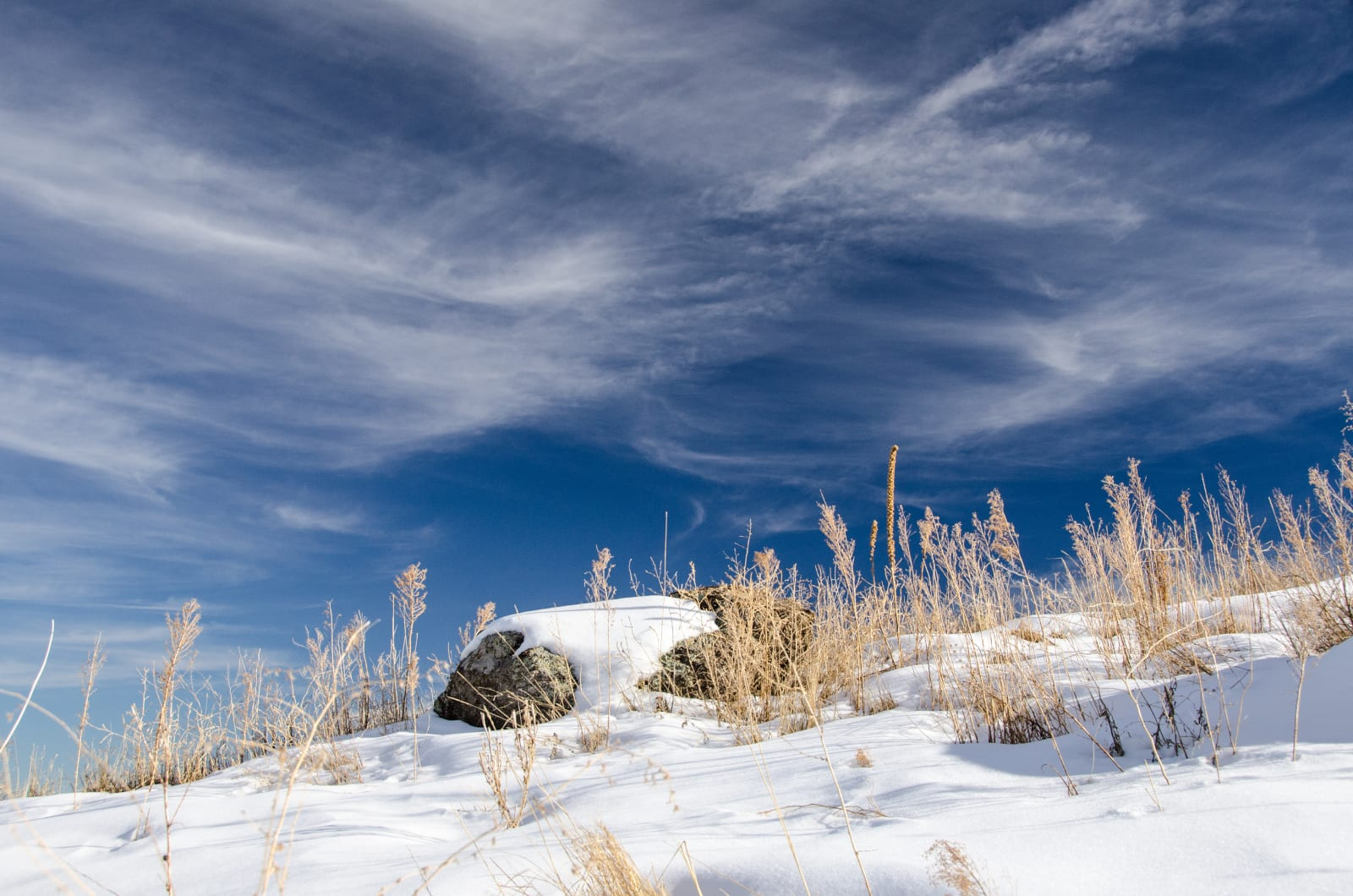 Cheyenne Mountain State Park Snowy Hillside Clouds Colorado Springs