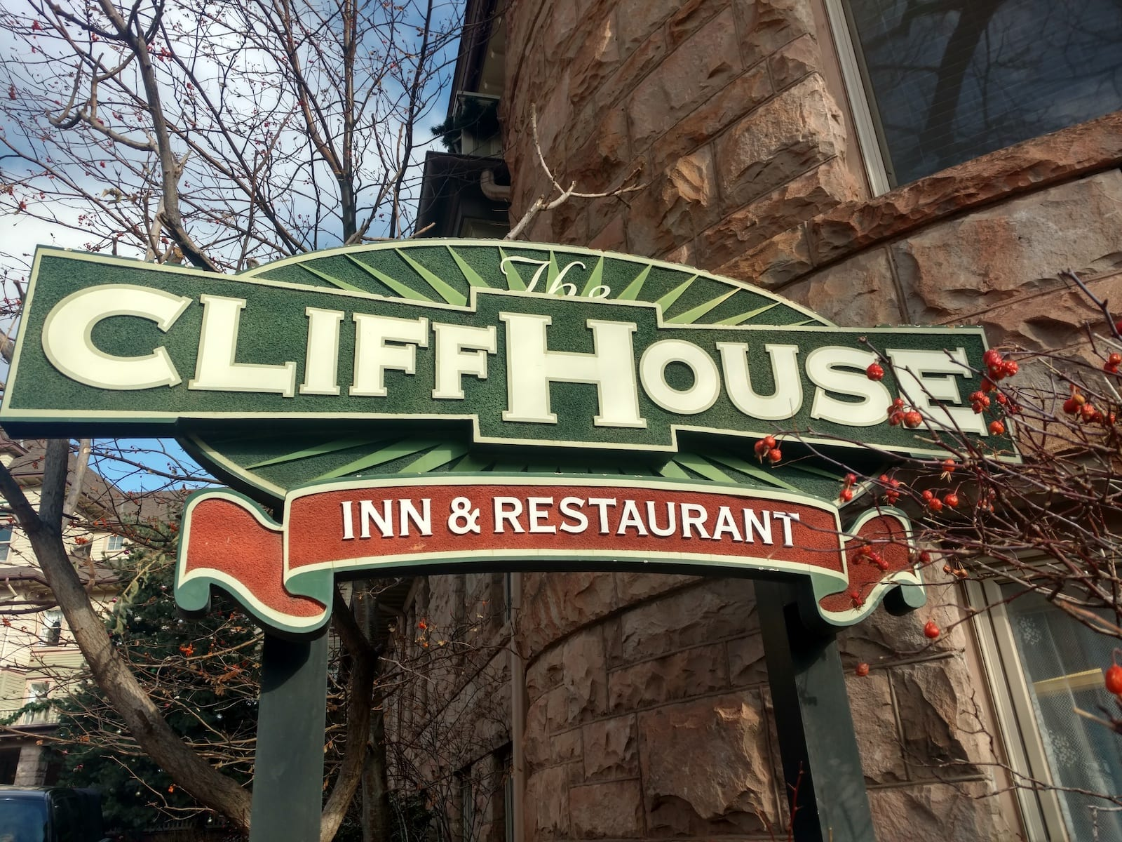Cliff House Inn and Restaurant Sign Colorado Springs Fine Dining