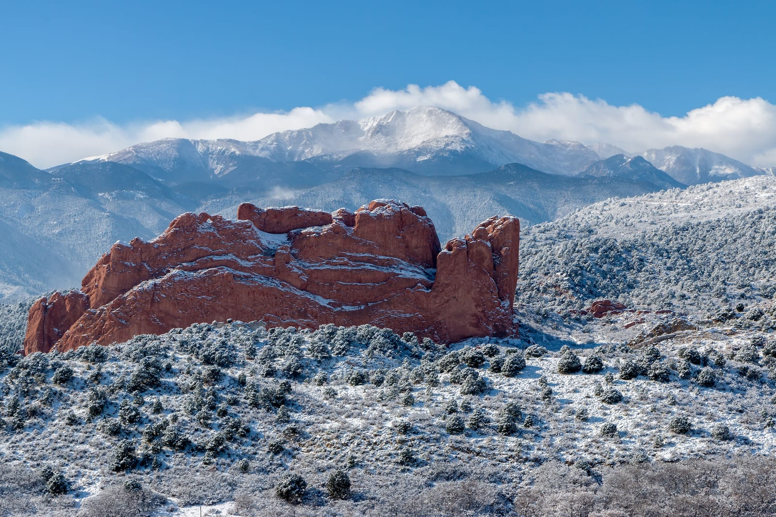 Garden of the Gods Pikes Peak Snow Covered Colorado Springs