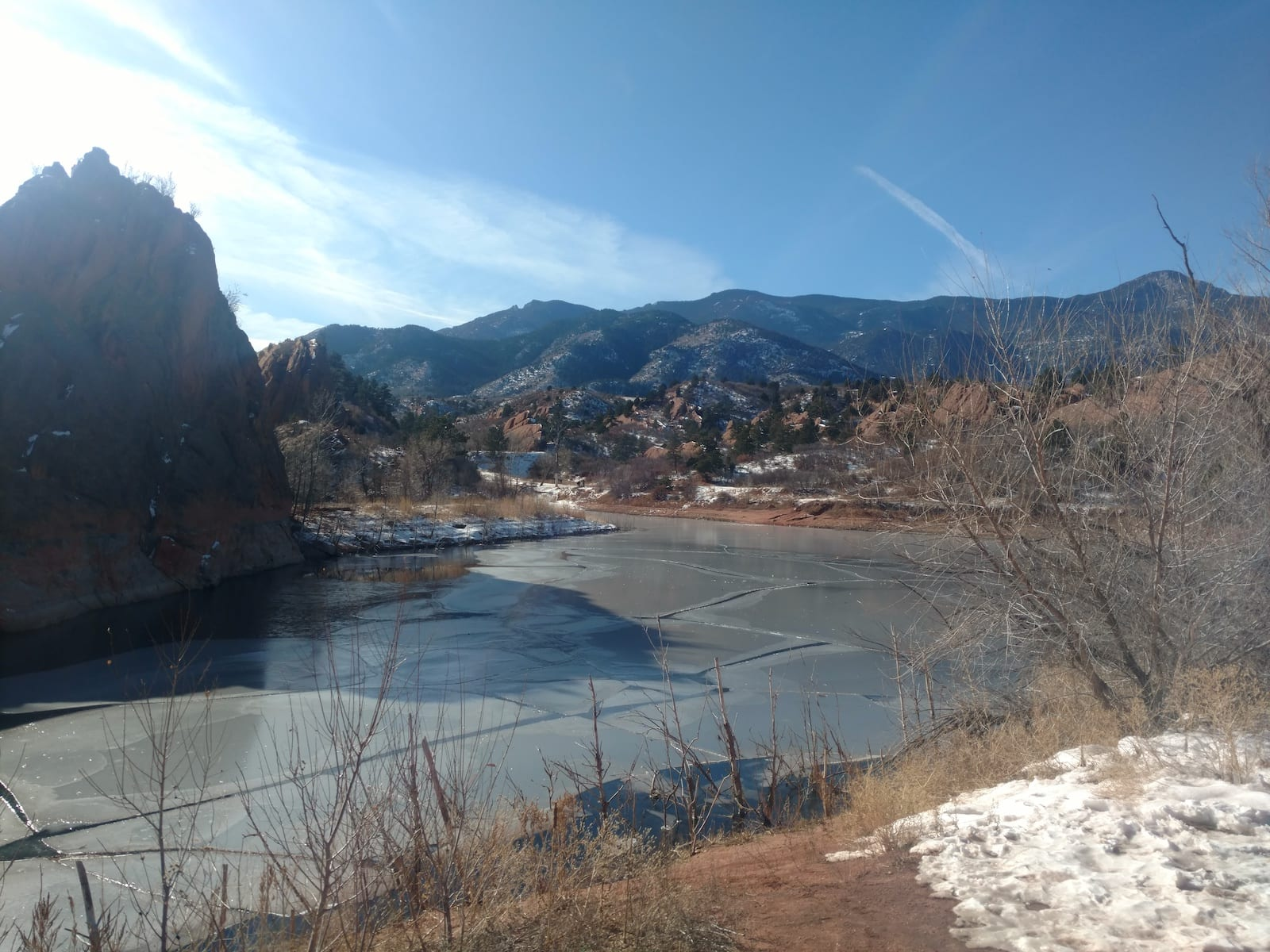 Red Rock Canyon Frozen Lake Colorado Springs