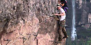 Via Ferrata Telluride Climbers Waterfall in Background