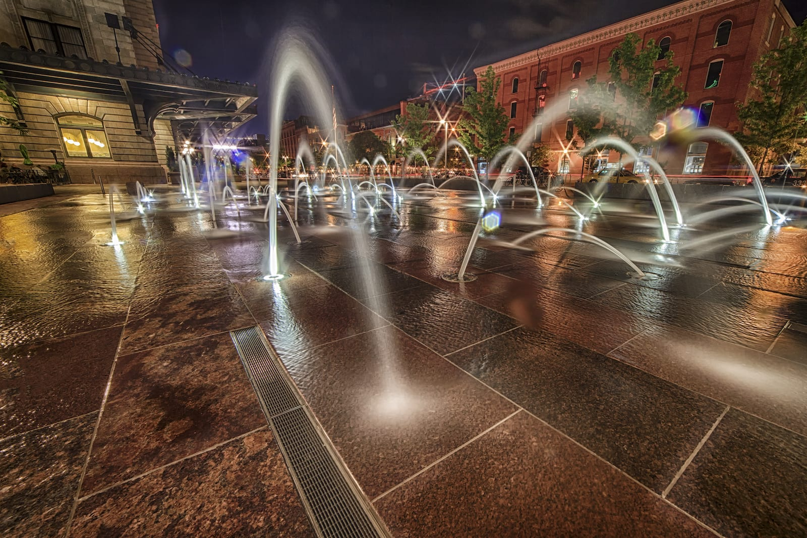 Denver Union Station Fountains Night