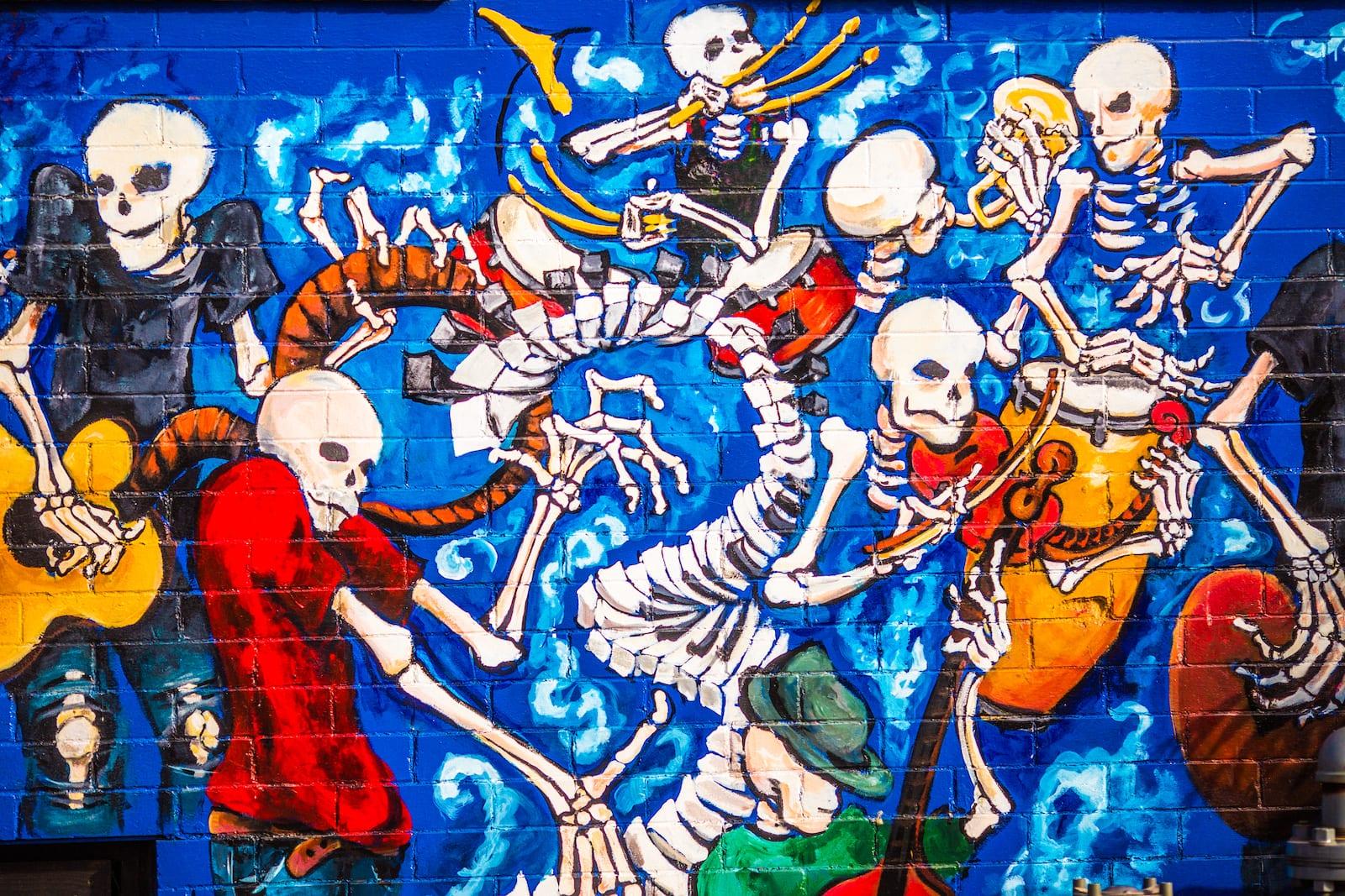 Grateful Dead Mural of Skeleton Band Denver Colorado