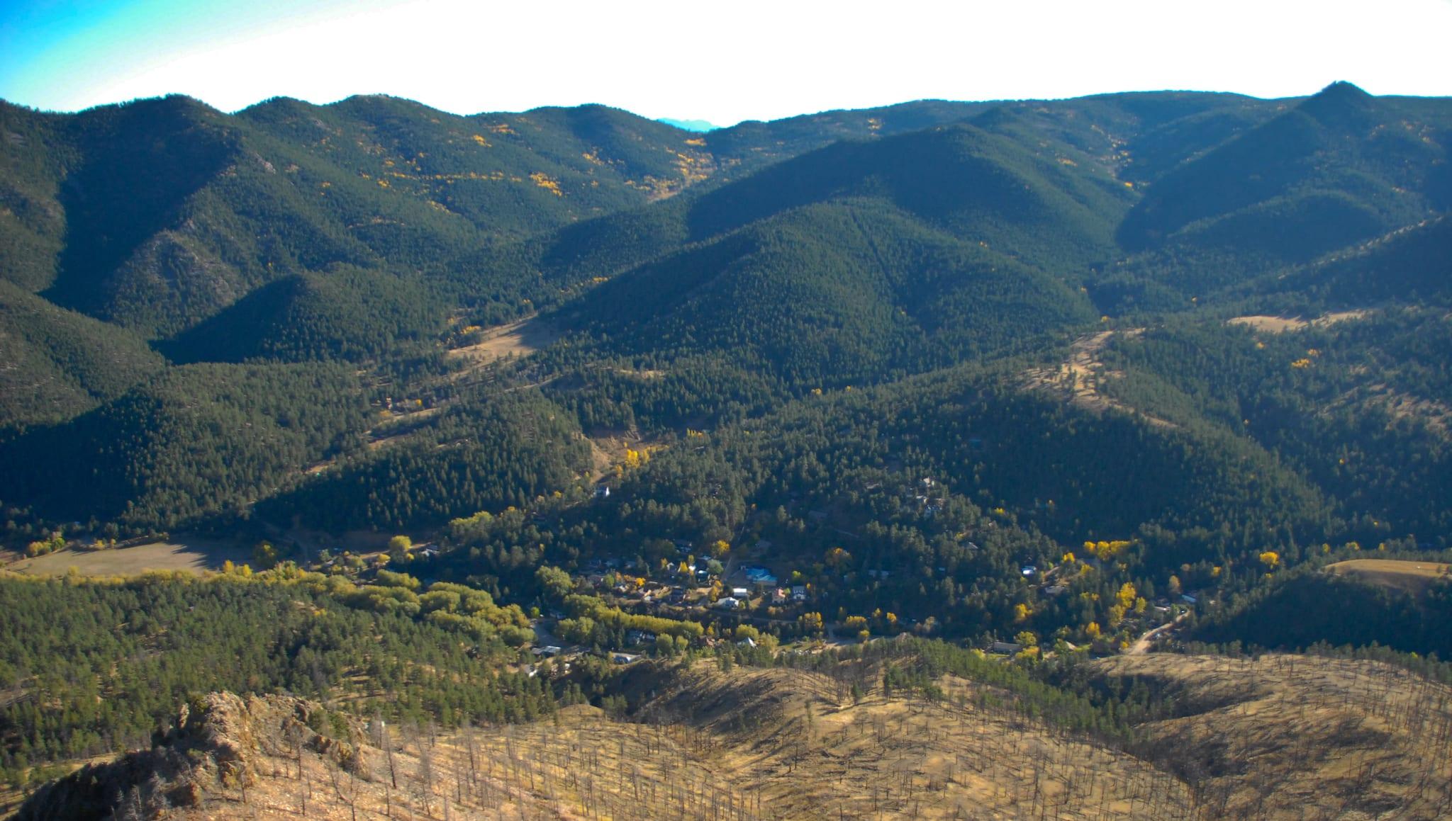 Jamestown Colorado Aerial View Mountains