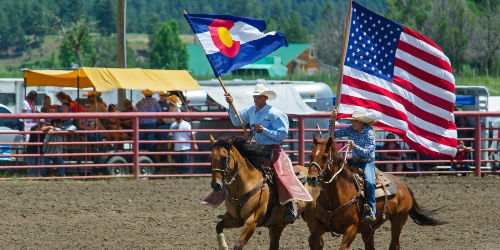 USA and Colorado Flags Pagosa Springs Rodeo