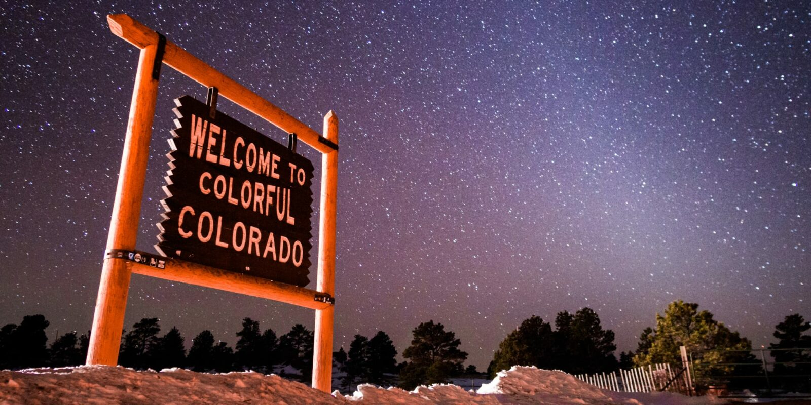 Colorful Colorado Sign Night Sky Stars