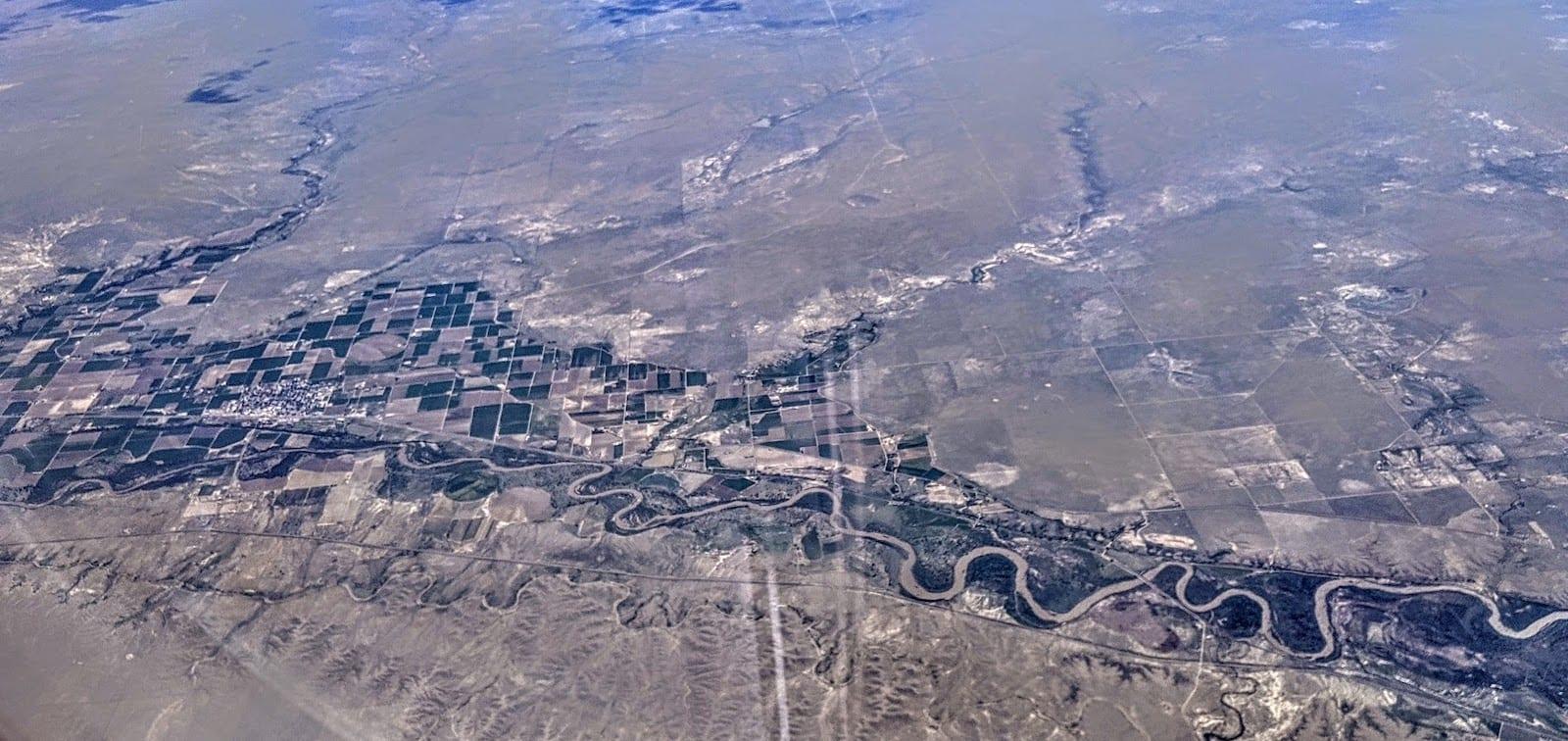 Fowler CO Arkansas River Aerial View