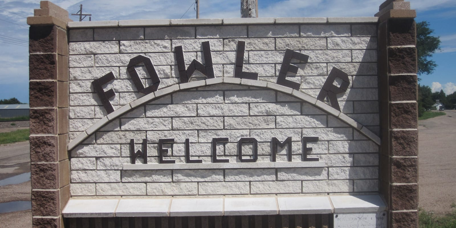 Fowler Colorado Welcome Sign