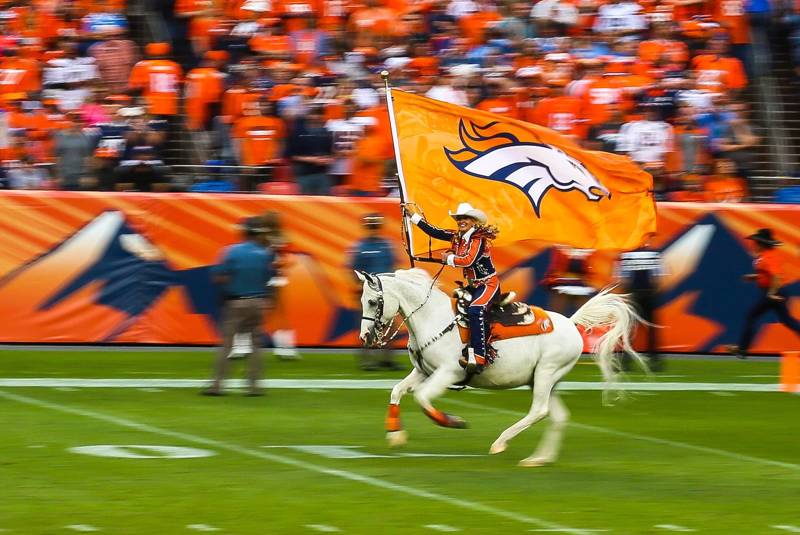 Mile High Stadium Horse Rider Broncos vs Chargers 2016