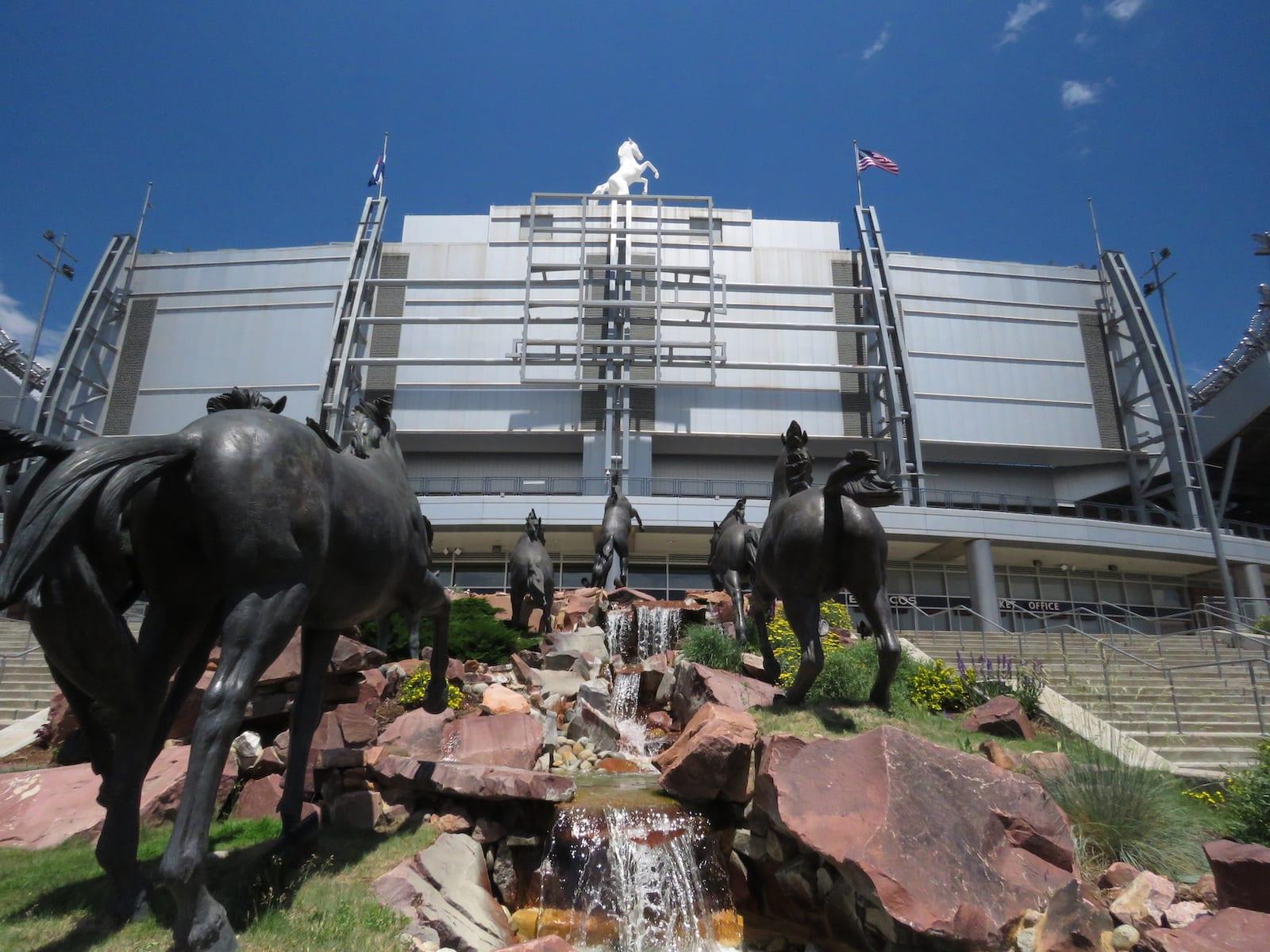 Mile High Stadium Denver CO Bronco Statues