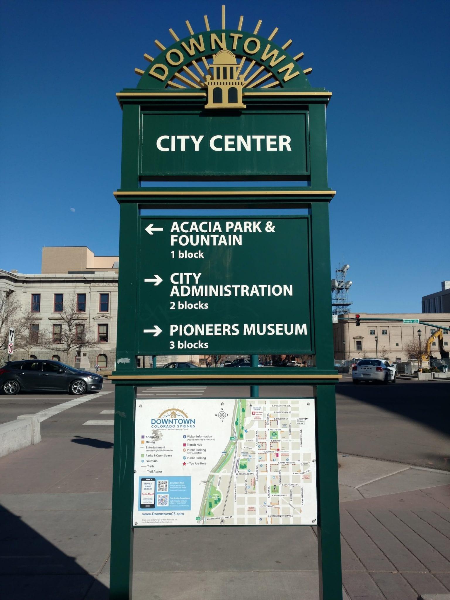 Colorado Springs Downtown City Center Sign