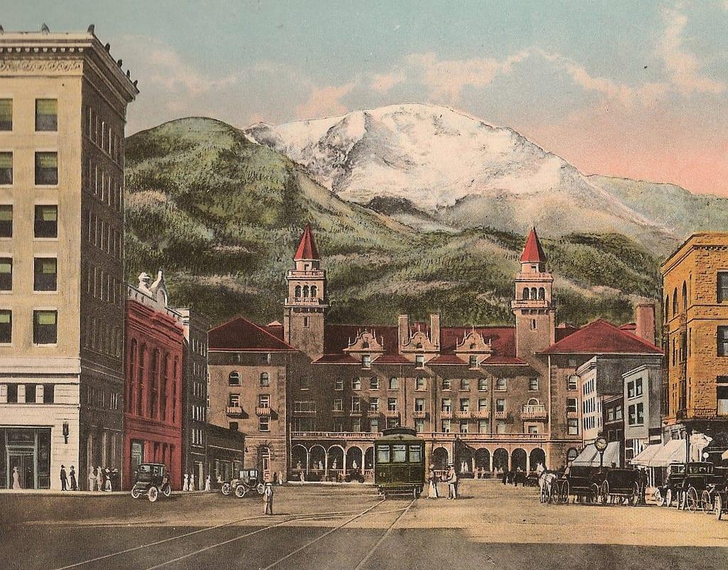 Colorado Springs Downtown Antler Hotel Vintage Photo