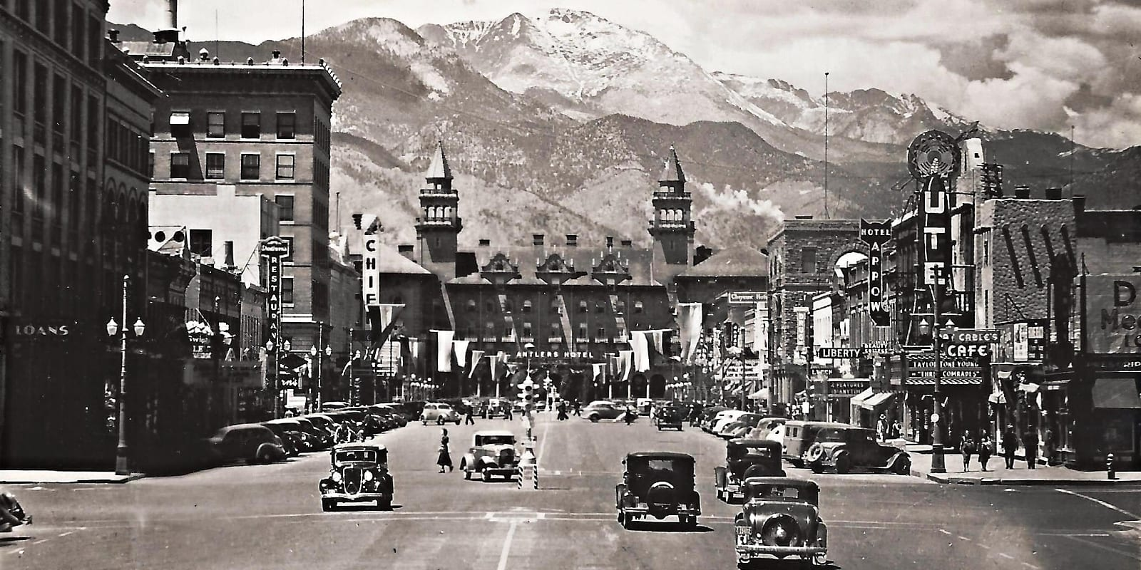 Colorado Springs History Facts Antler Hotel Downtown Circa 1940s