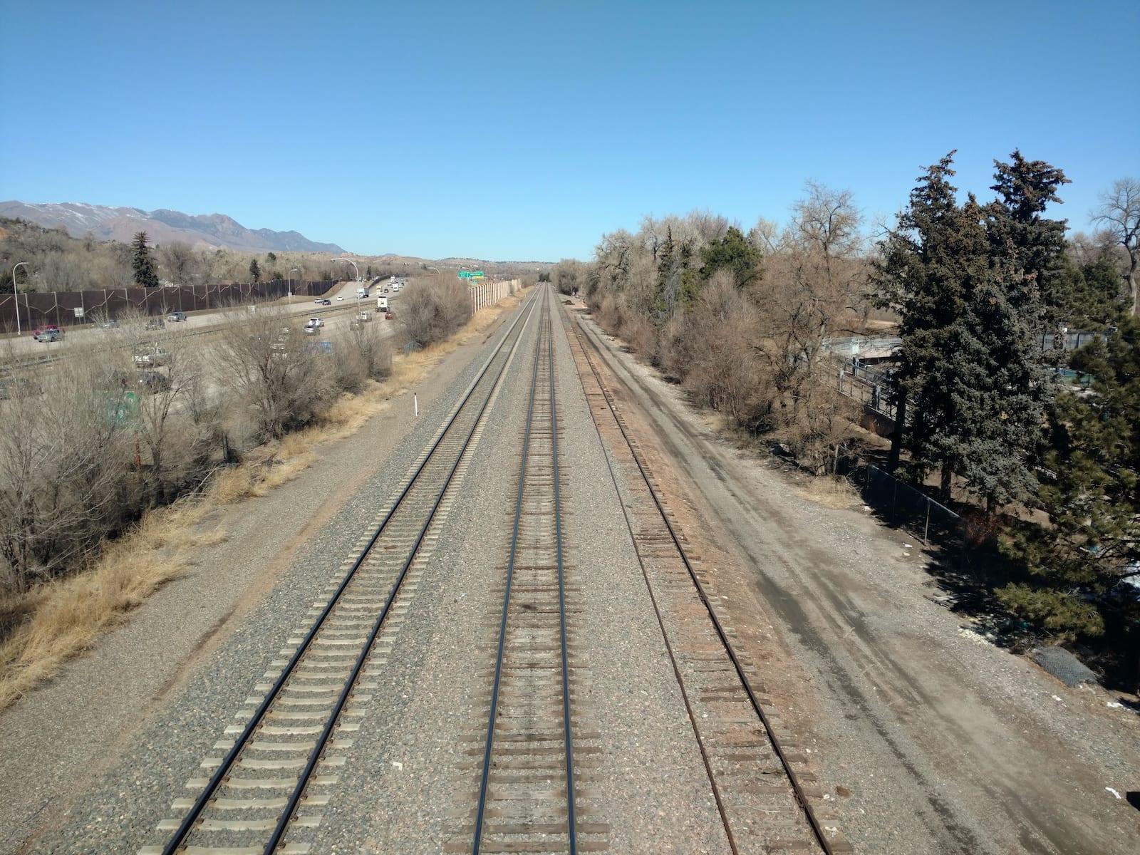 Train Railroad Tracks Between Colorado Springs and Denver