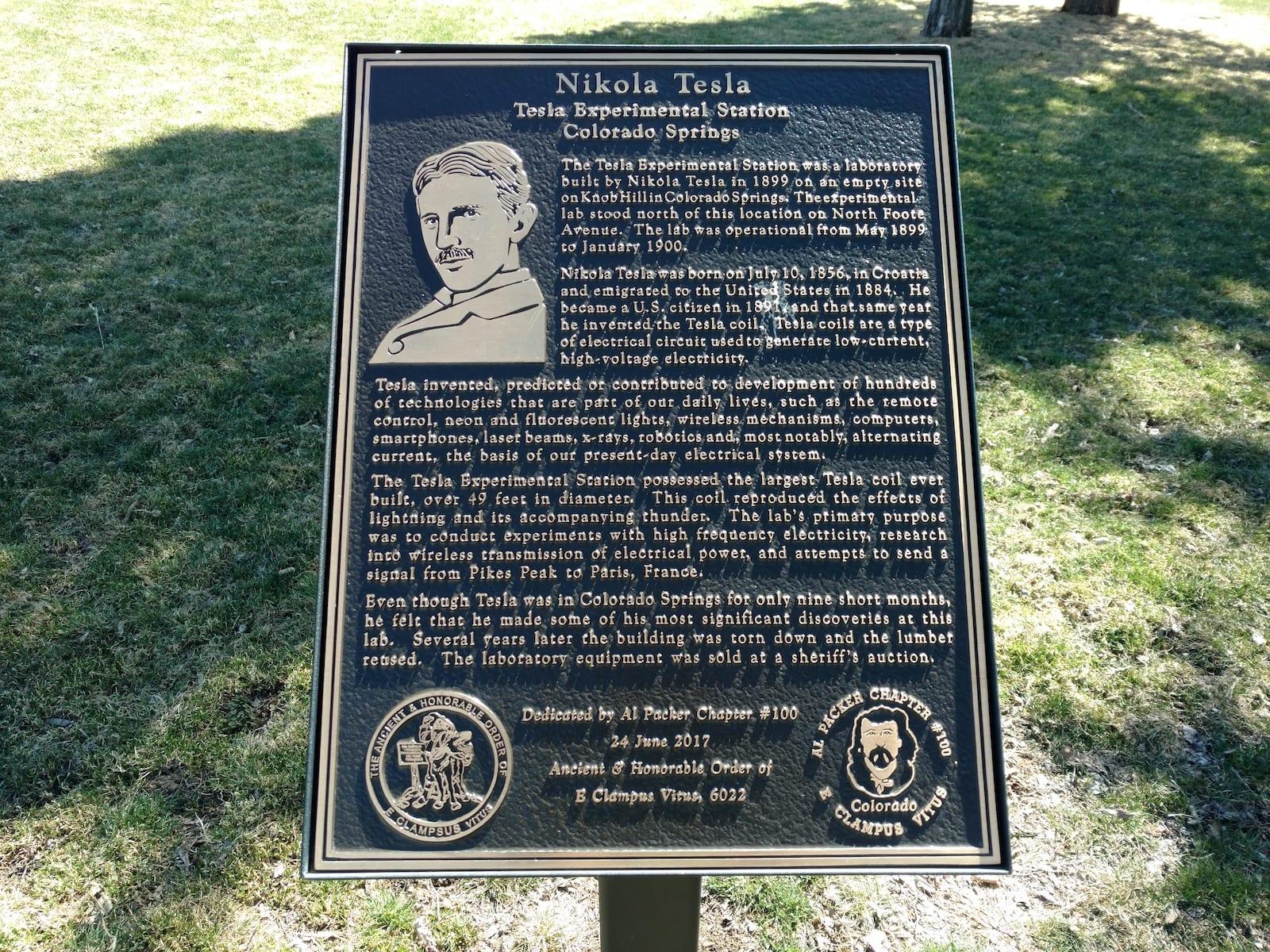 Nikola Tesla Interpretive Sign Memorial Park Colorado Springs