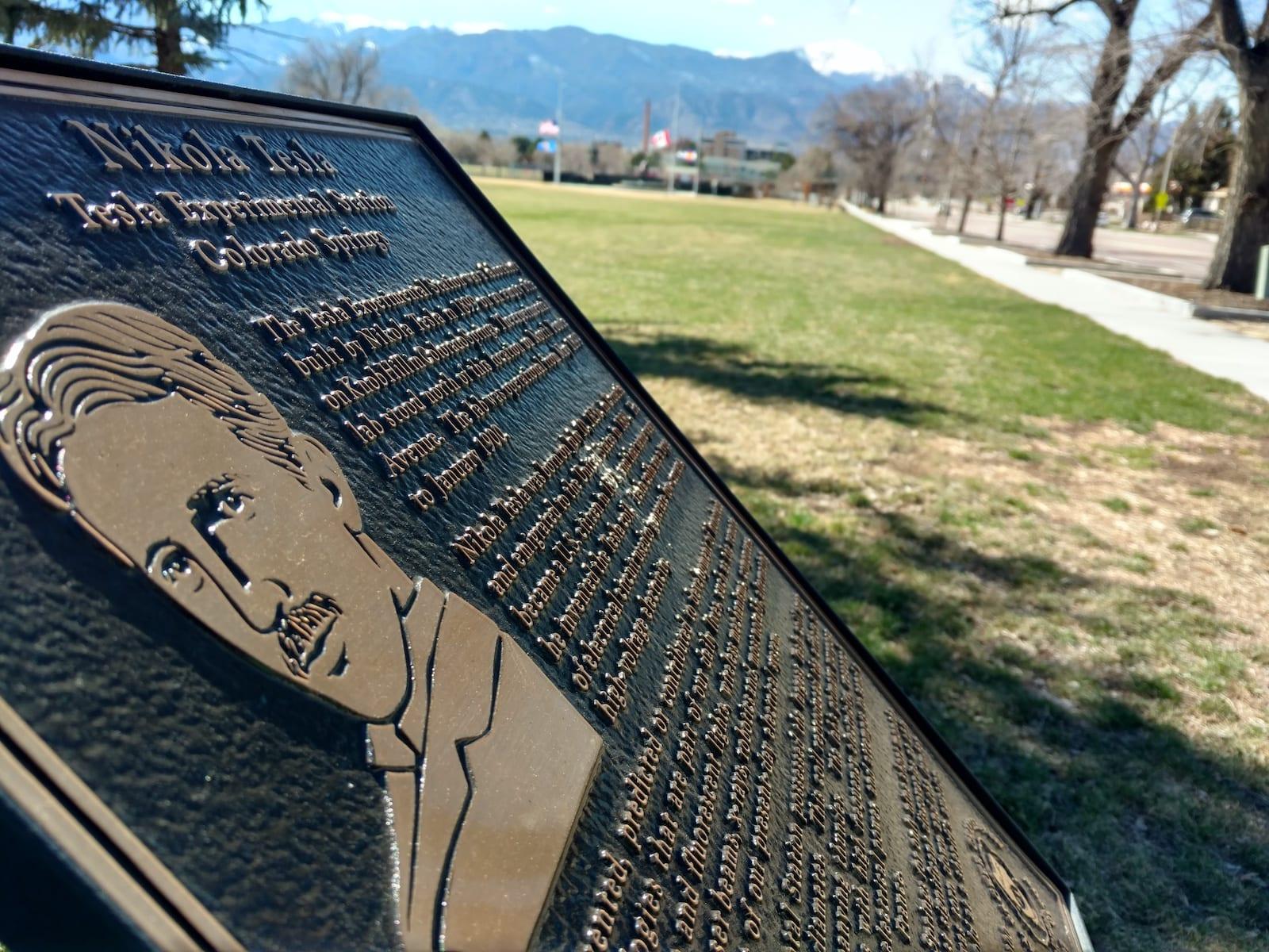 Colorado Springs History Tesla Sign Memorial Park