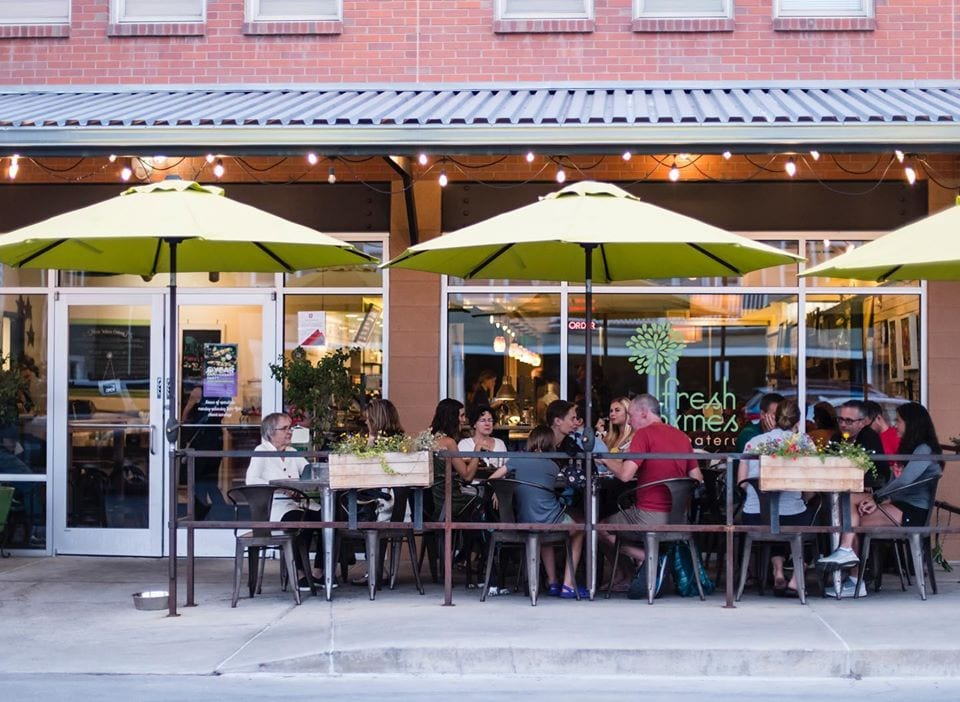 outdoor patio at fresh thymes eatery in boulder