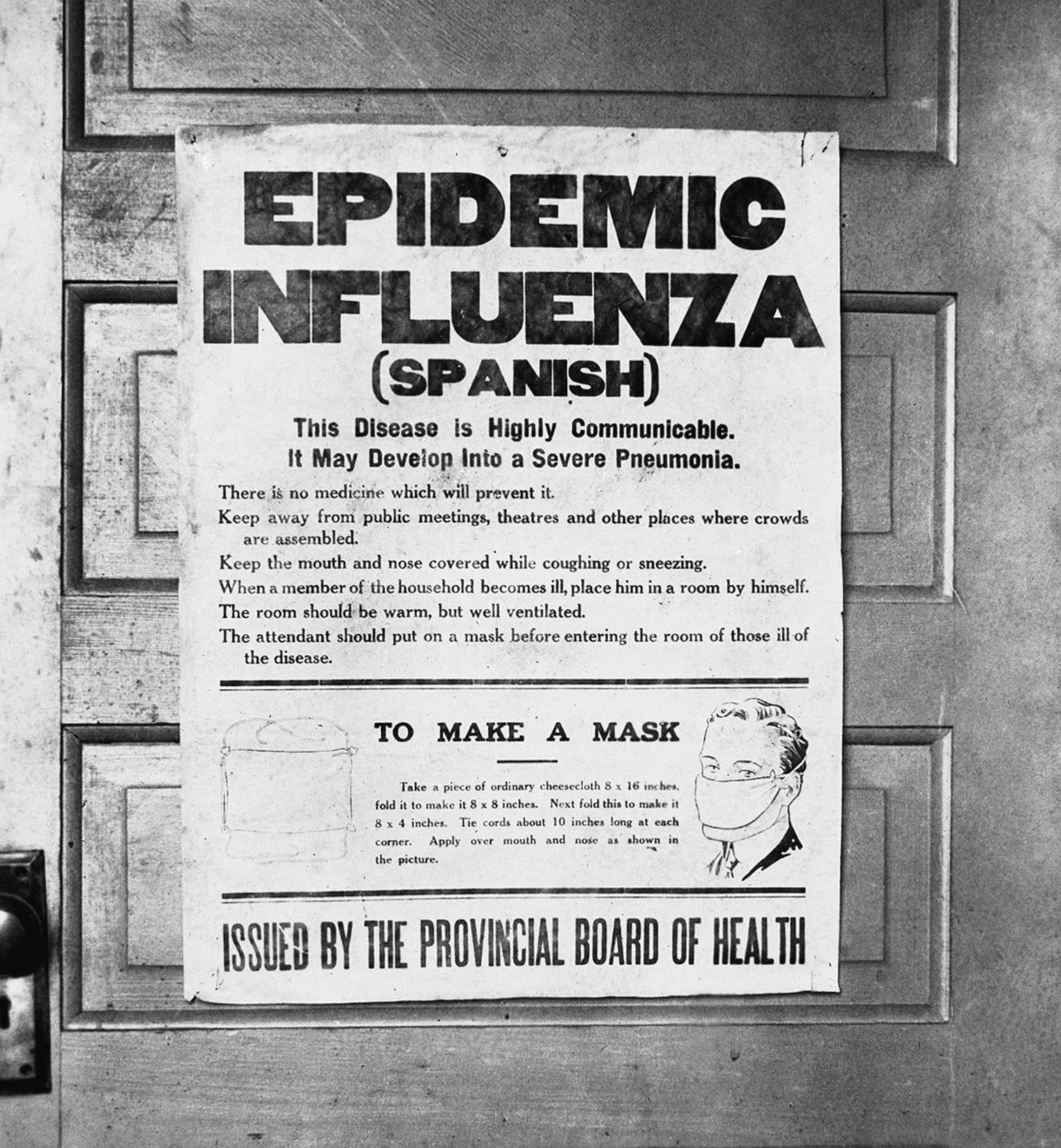 Spanish Flu Poster Alberta Canada 1918