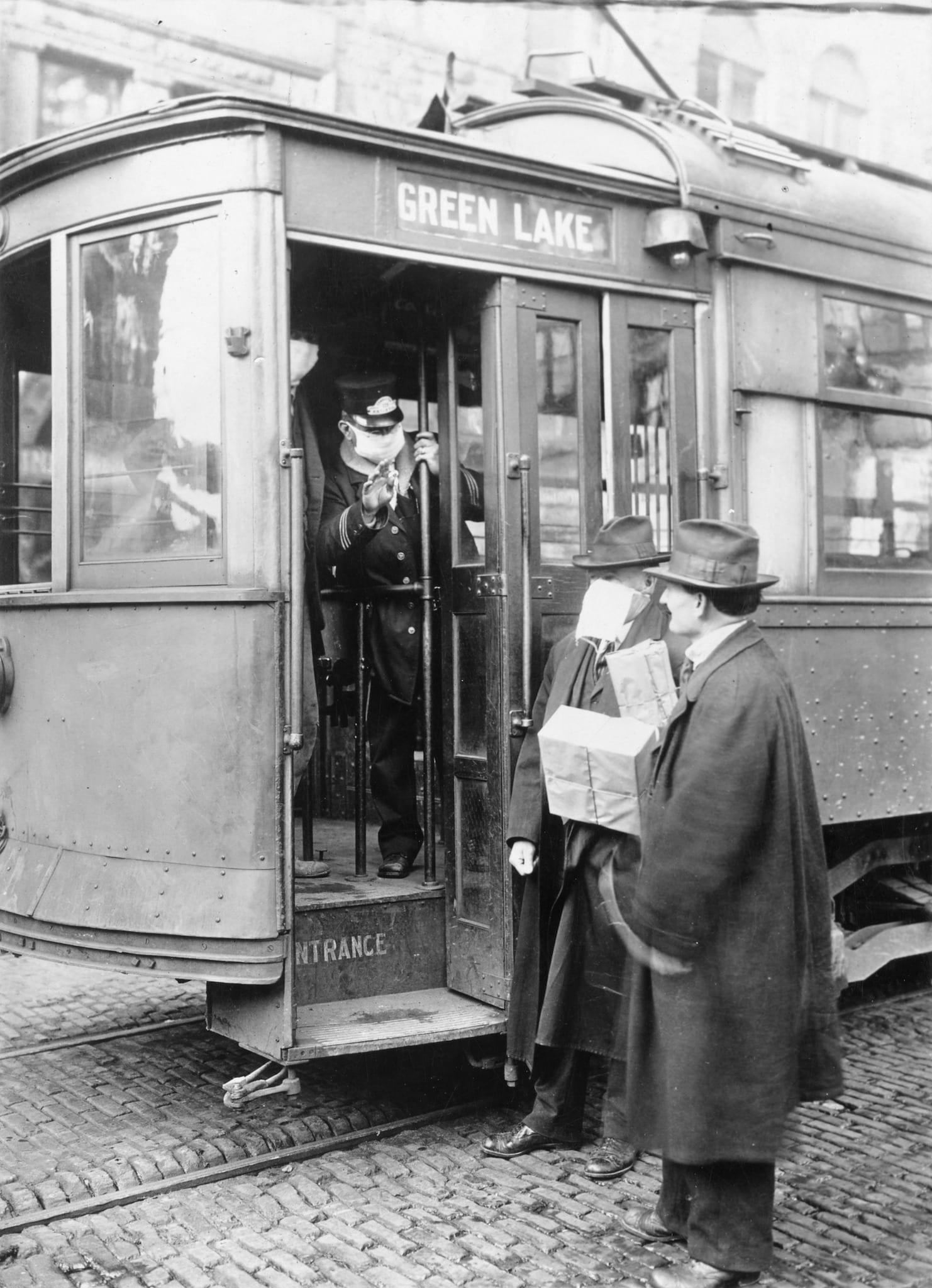 Spanish Flu 1918 Seattle Washington Trolly Passengers Wearing Masks