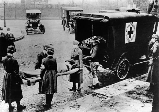 American Red Cross Carry Spanish Flu Victim Into Ambulance Circa 1919