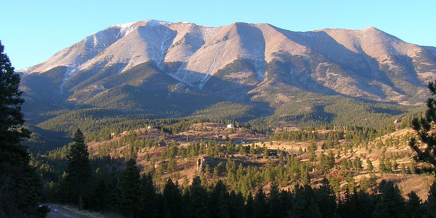 A southern view of the West Spanish Peak in the fall, CO