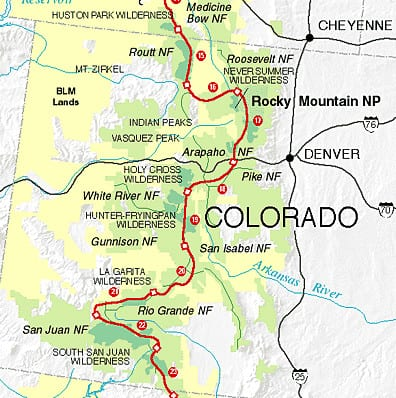 Continental Divide Trail Colorado Map