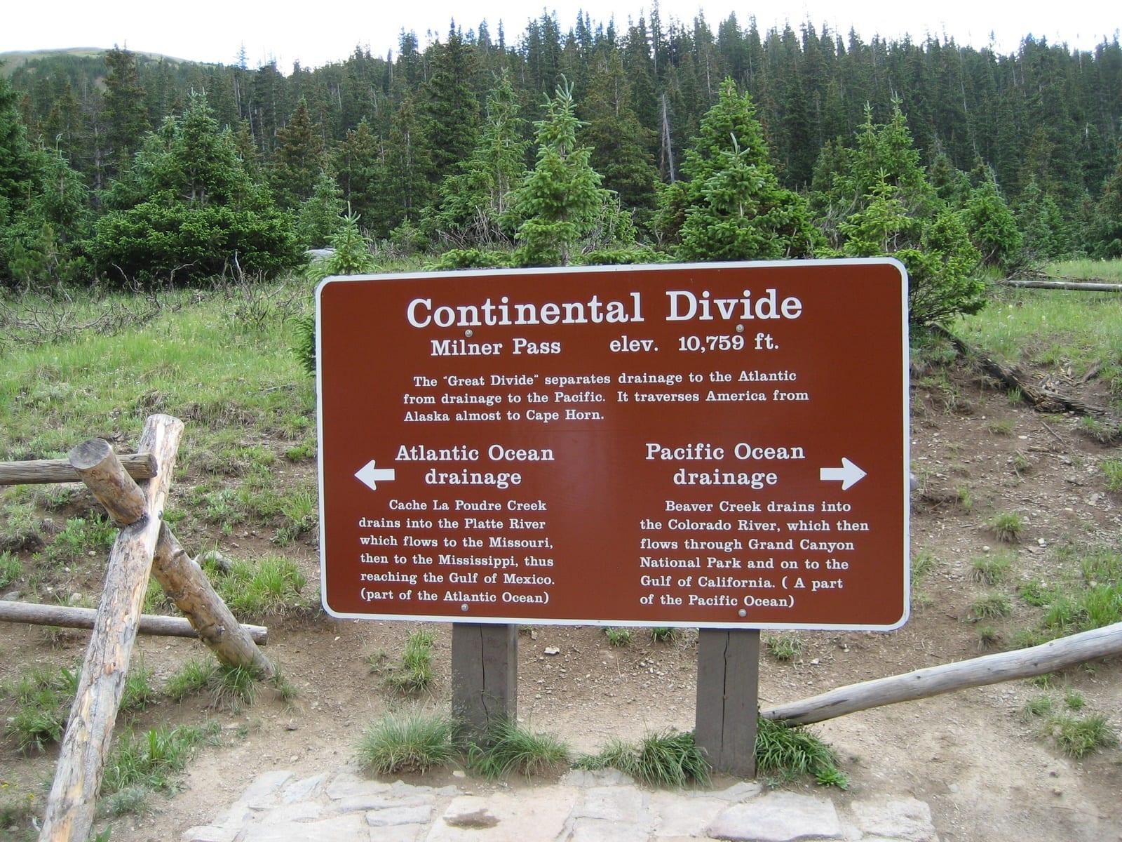 Trail Ridge Road Milner Pass Continental Divide Sign