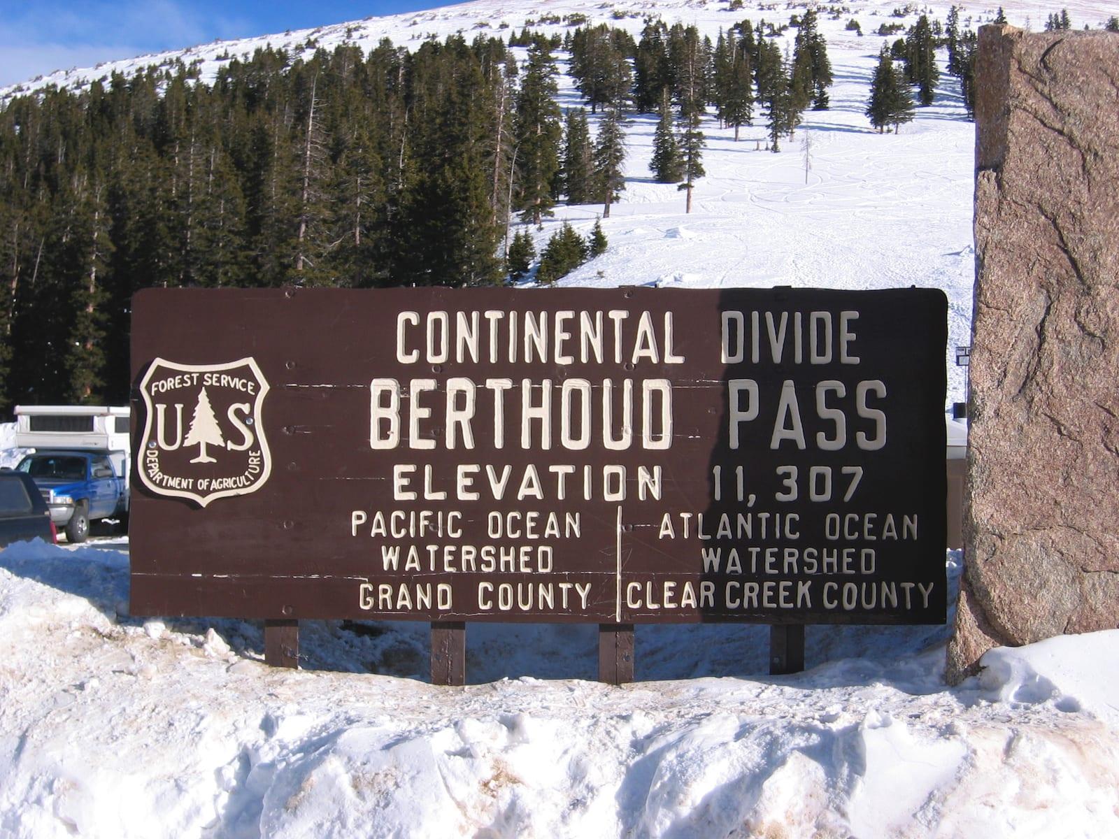 Berthoud Pass sign, CO