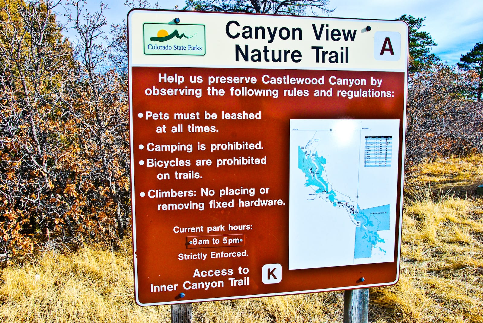 Castlewood Canyon State Park Sign, CO