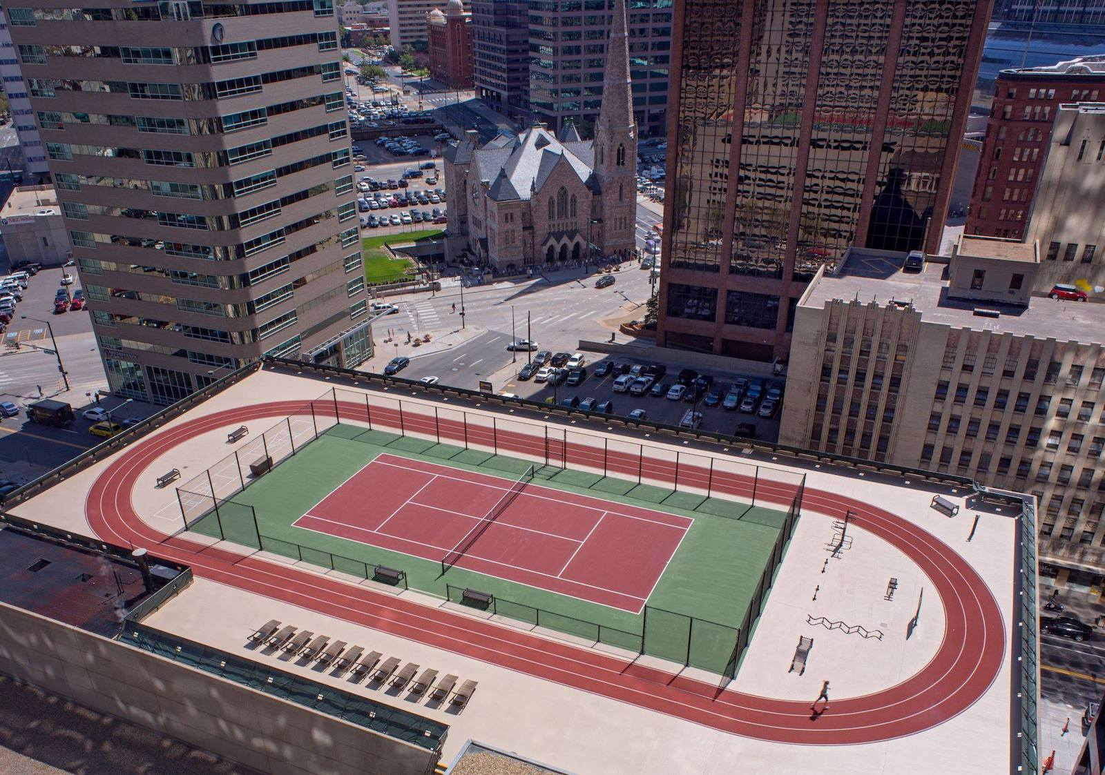 Take advantage of this sunny weather with a game of tennis on our rooftop Skycourt, CO