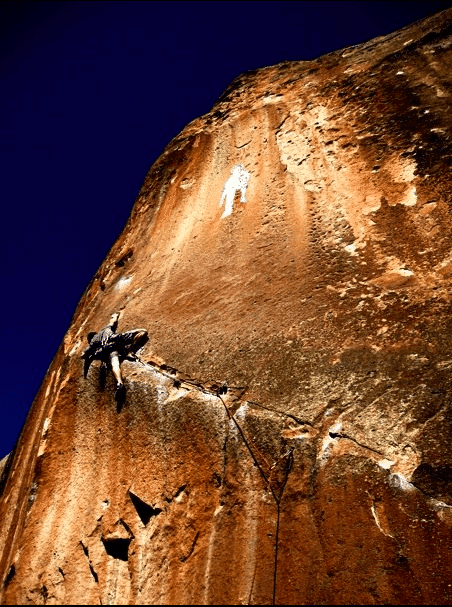 A climber in Penitente Canyon, CO