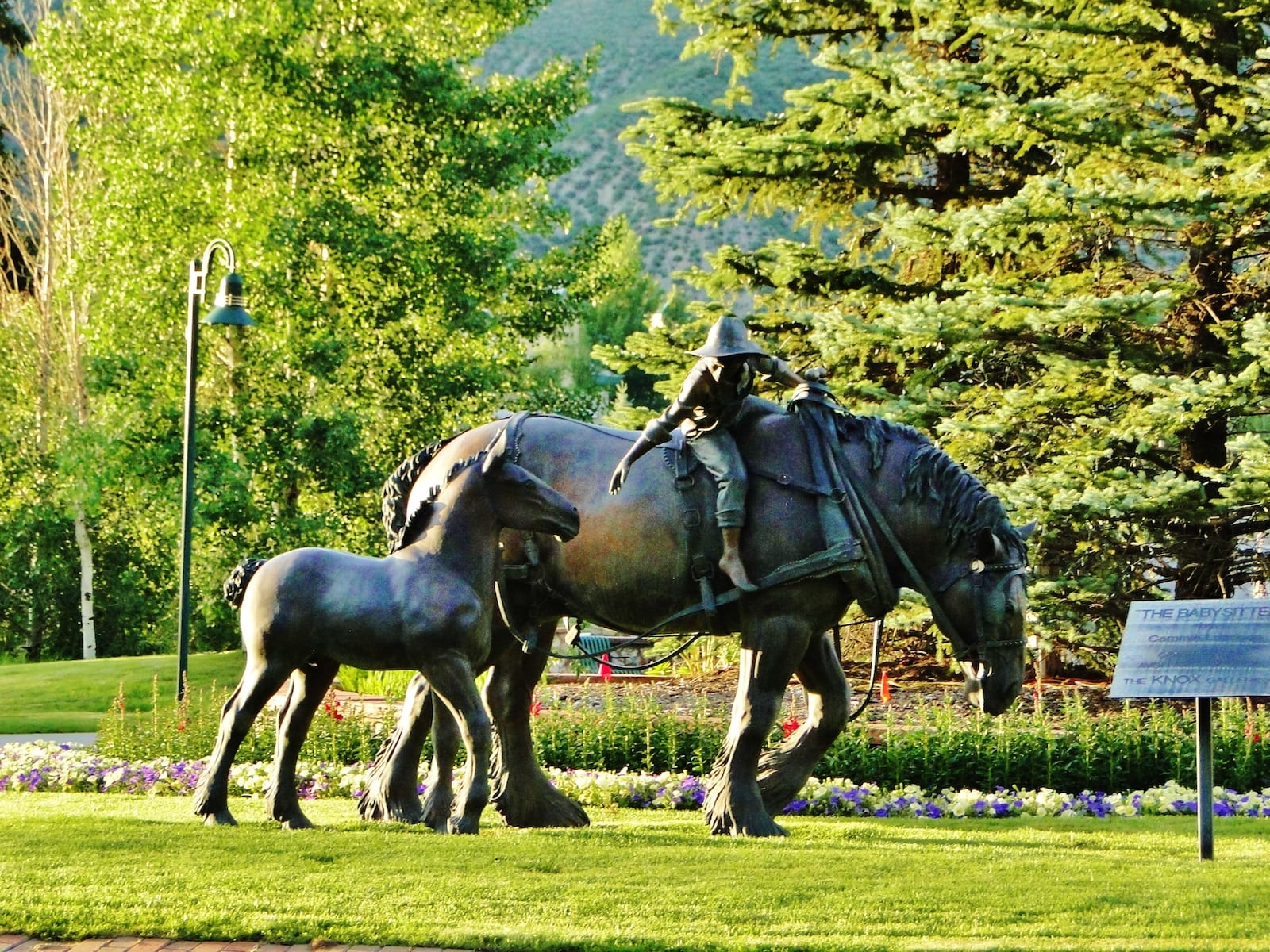 The Babysitter Sculpture 2 Horses 1 Person